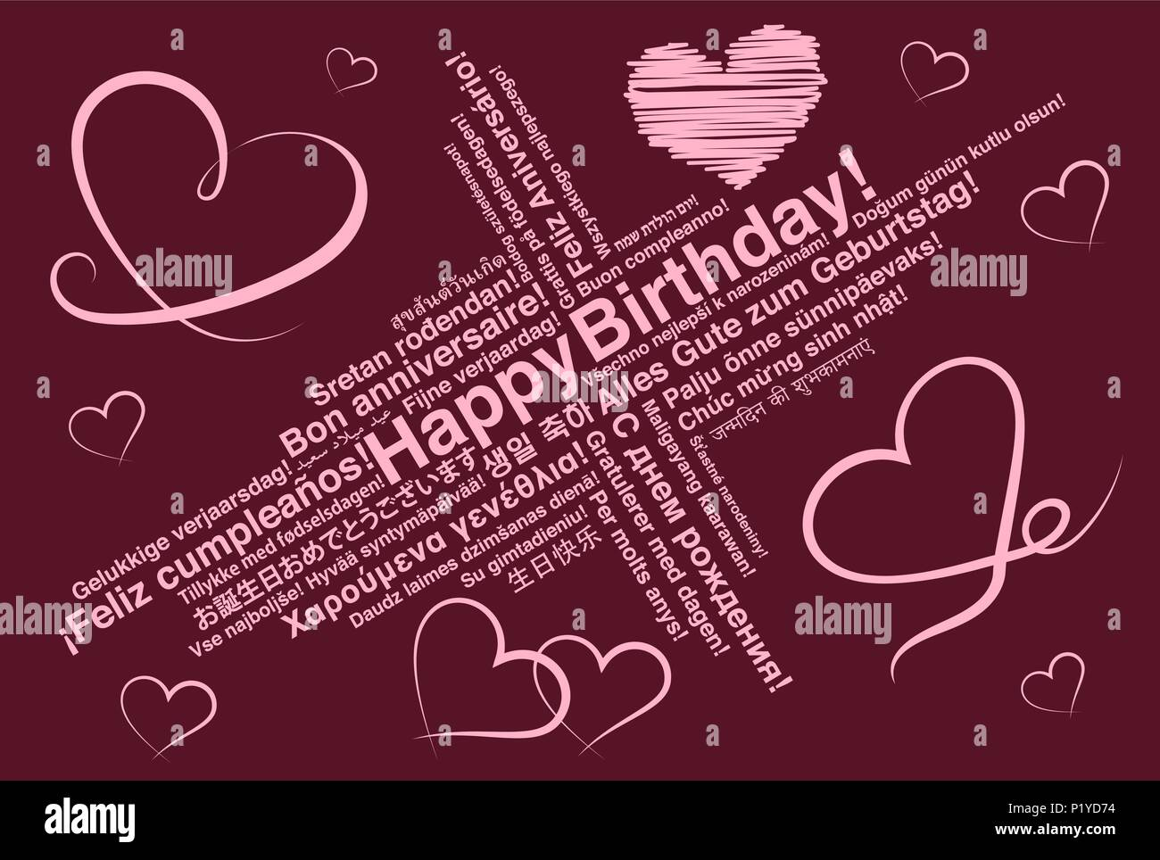 Happy Birthday In Different Languages Wordcloud Greeting Card With