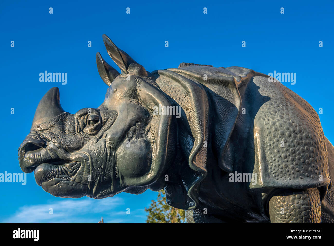 France, Ile de France, Paris, 7th district, sculpted rhinoceros by Alfred Jacquemart in front of the Musee d'Orsay - Stock Image