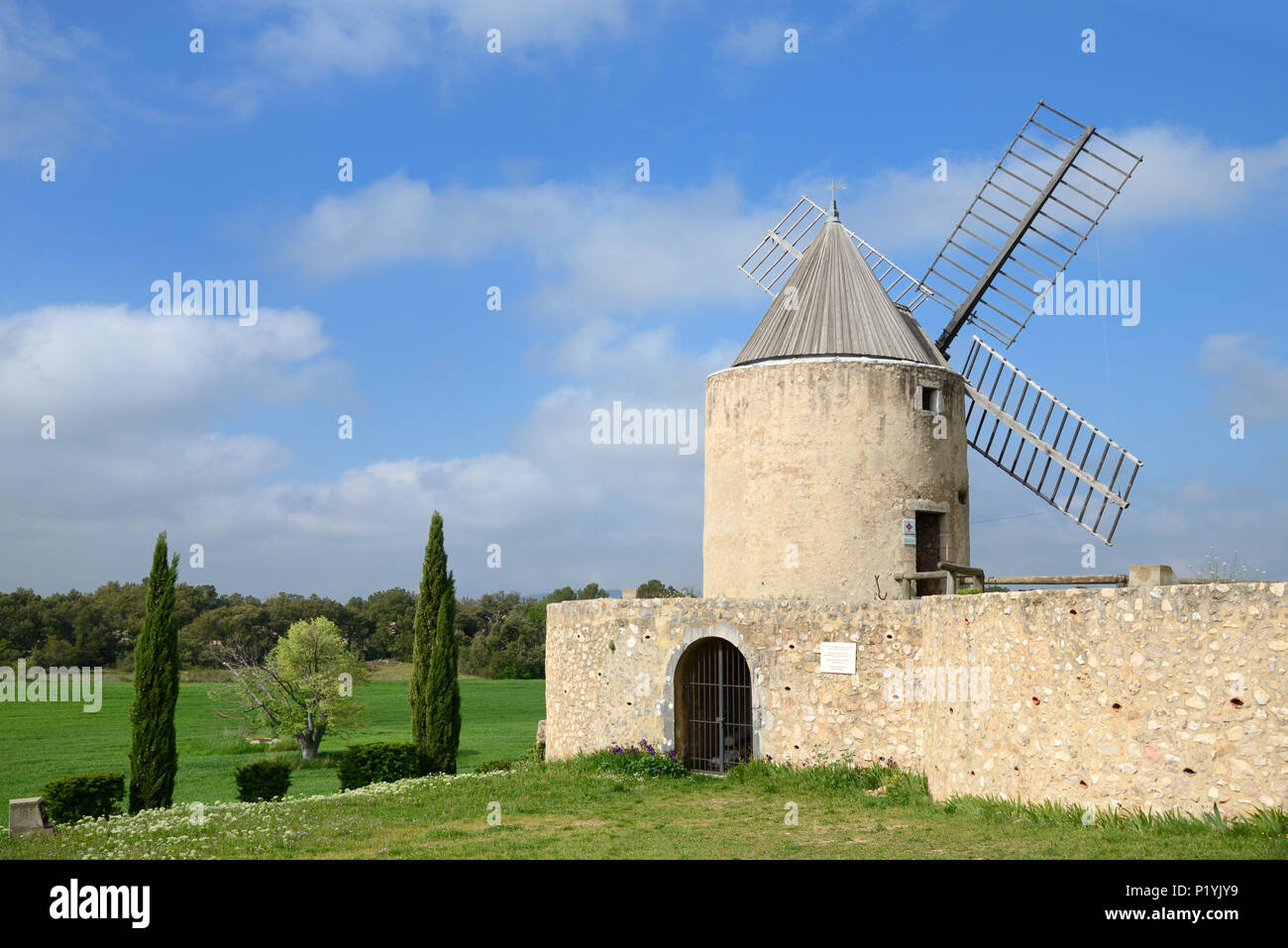 Traditional Provençal Stone Windmill at Regusse in the Var Provence France - Stock Image