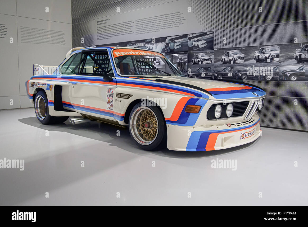 MUNICH, GERMANY-APRIL 4, 2017: 1975 BMW 3.0 CSL (Drivers: Stuck, Posey, Redman) in the BMW Museum. - Stock Image