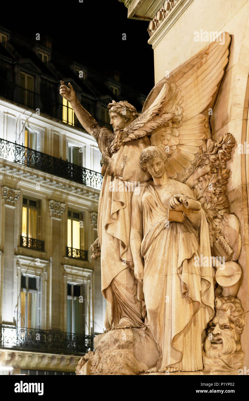 Paris, 9th arrondissement, night Palais Garnier. Sculpture on the front. - Stock Image
