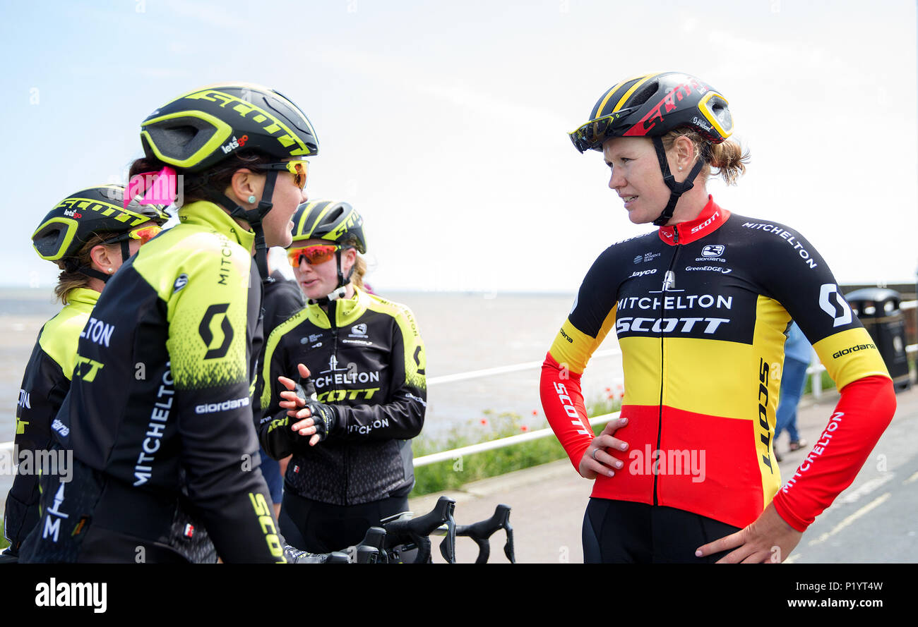 Stage winner Mitchelton-SCOTT s Jolien D Hoore (right) celebrates after  stage one 1e2da6bd0