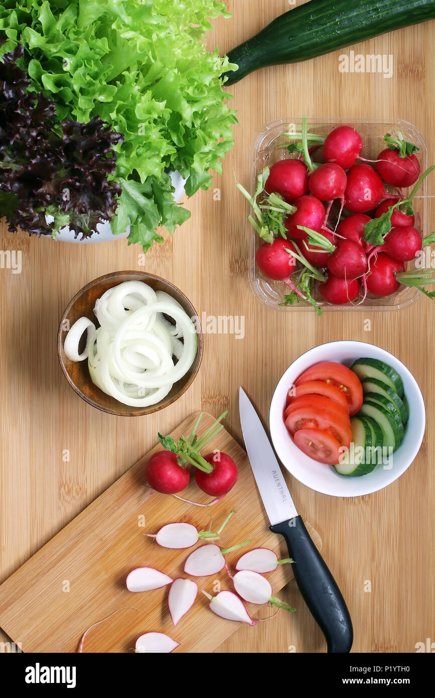 Top View of Fresh Summer Salad Ingredients Stock Photo