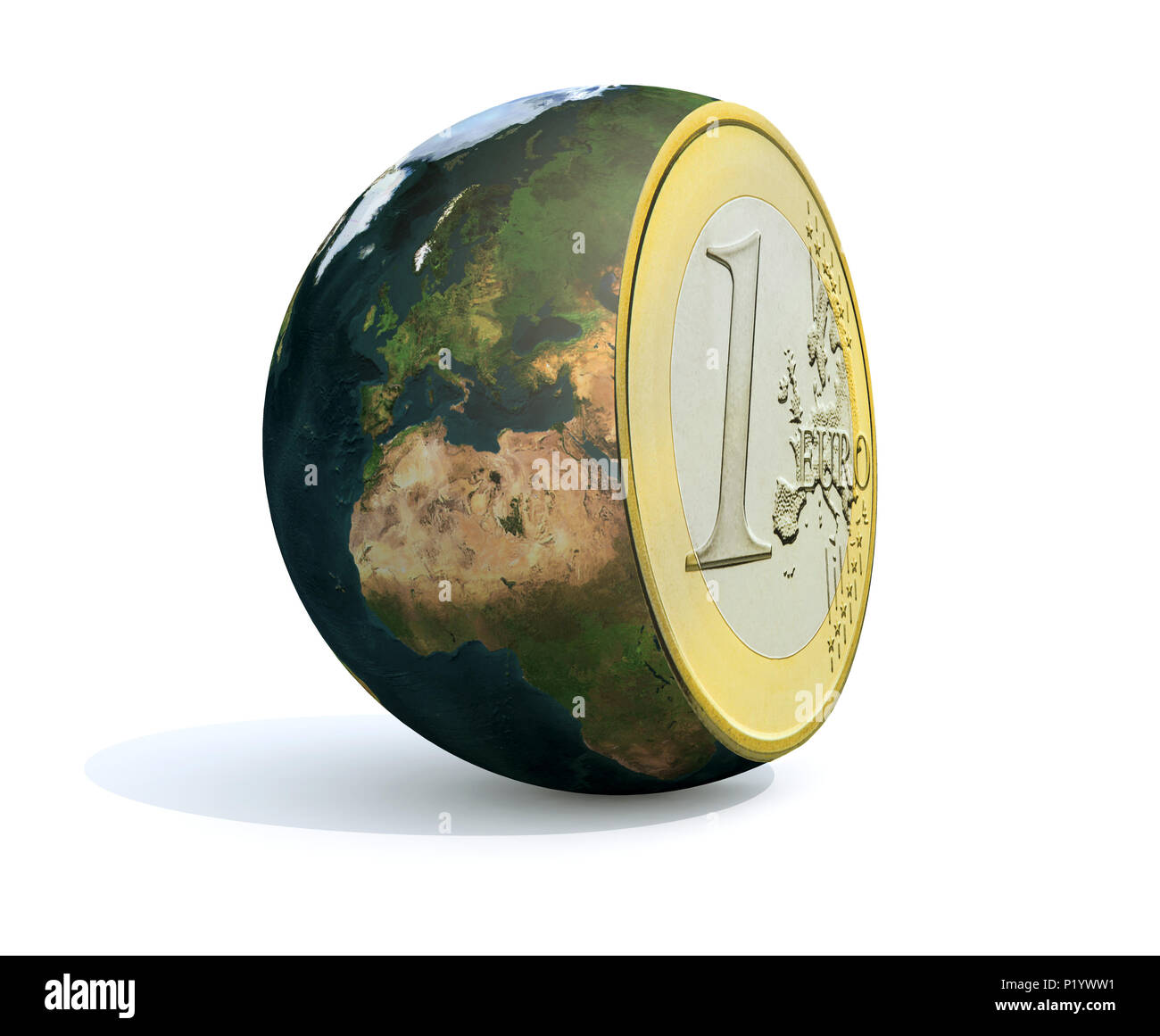 the world sliced and euro coin inside, 3d illustration - Stock Image