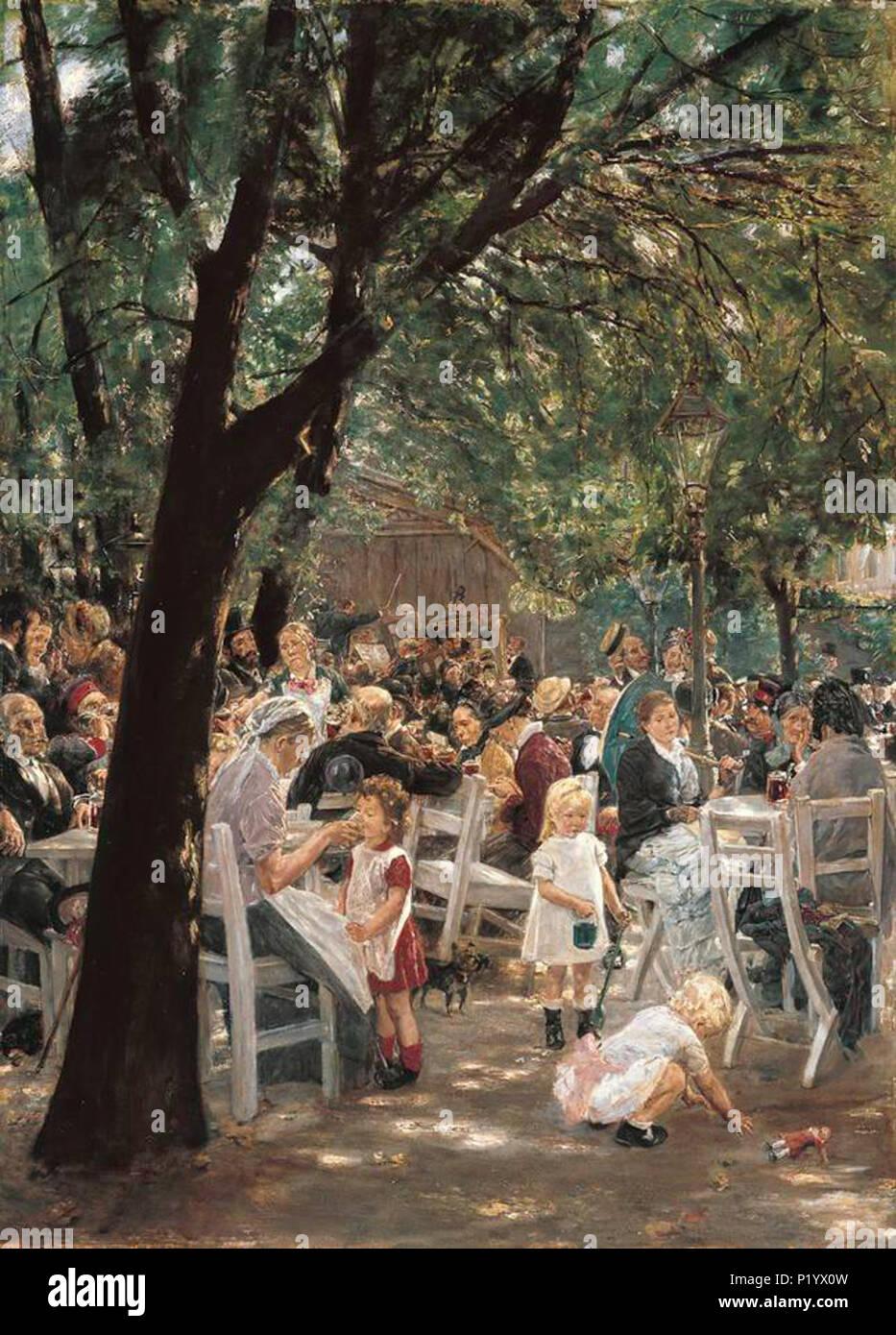 .  Deutsch: Münchner Bierkonzert English: Beer concert at Munich . 1883 E0702 LIEBERMANN 176 Liebermann Munich Beergarden - Stock Image