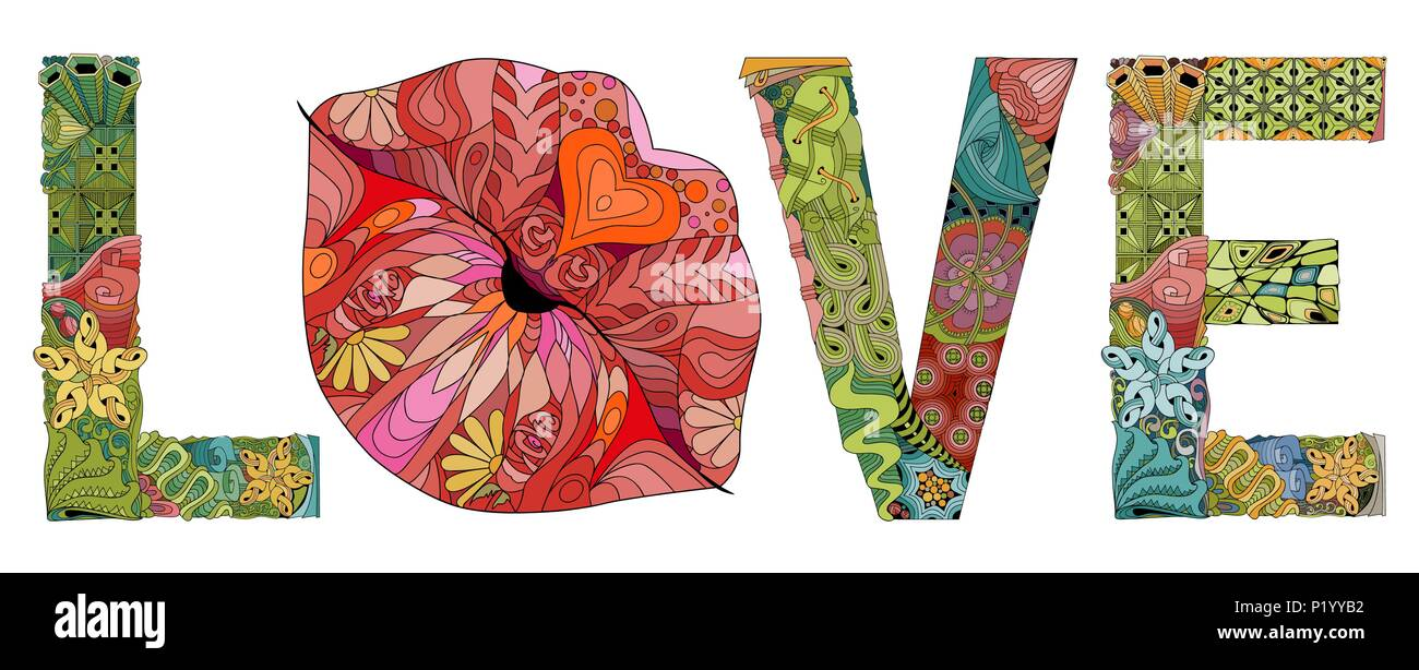 Word LOVE With Lips Silhouette Vector Decorative Zentangle Object