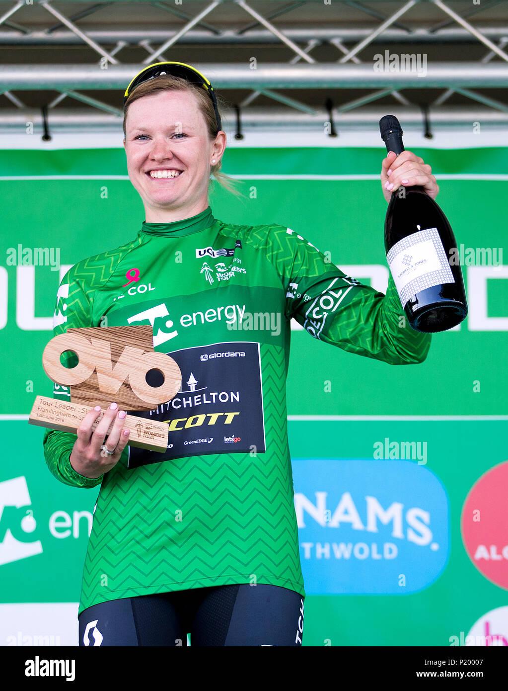 OVO Energy Green Jersey winner Mitchelton-SCOTT s Jolien D Hoore celebrates  during stage one 51ddcdfef