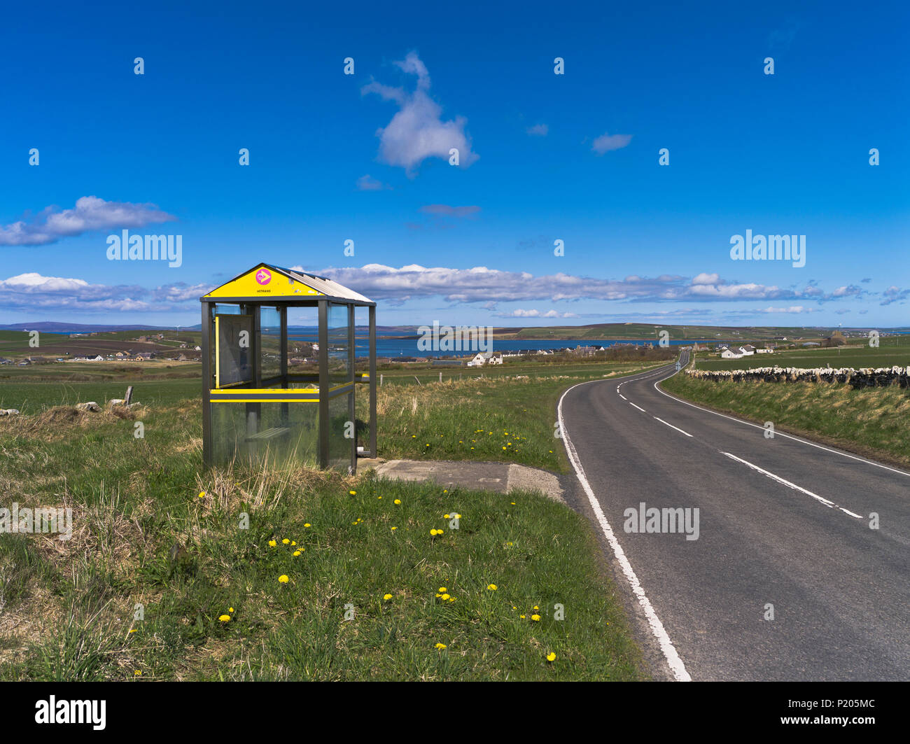 Scottish bus stop SOUTH RONALDAY ORKNEY Local rural bus shelter stops Scotland isles countryside uk - Stock Image