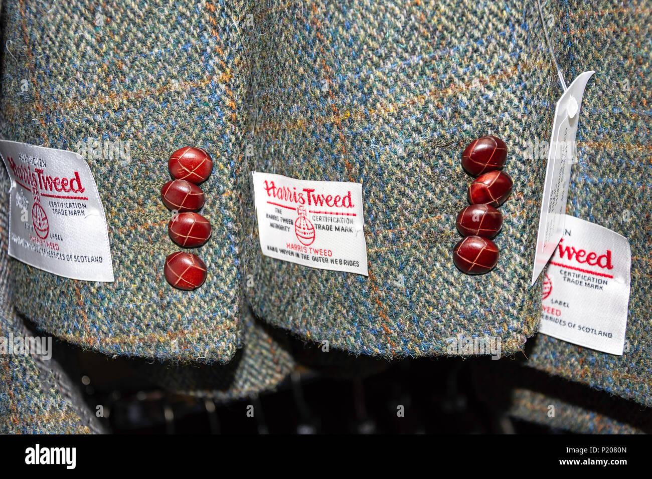 Men's Harris Tweed jacket sleeves, Tarbert (Tairbeart), Isle of Harris, Outer Hebrides, Na h-Eileanan Siar, Scotland, United Kingdom - Stock Image