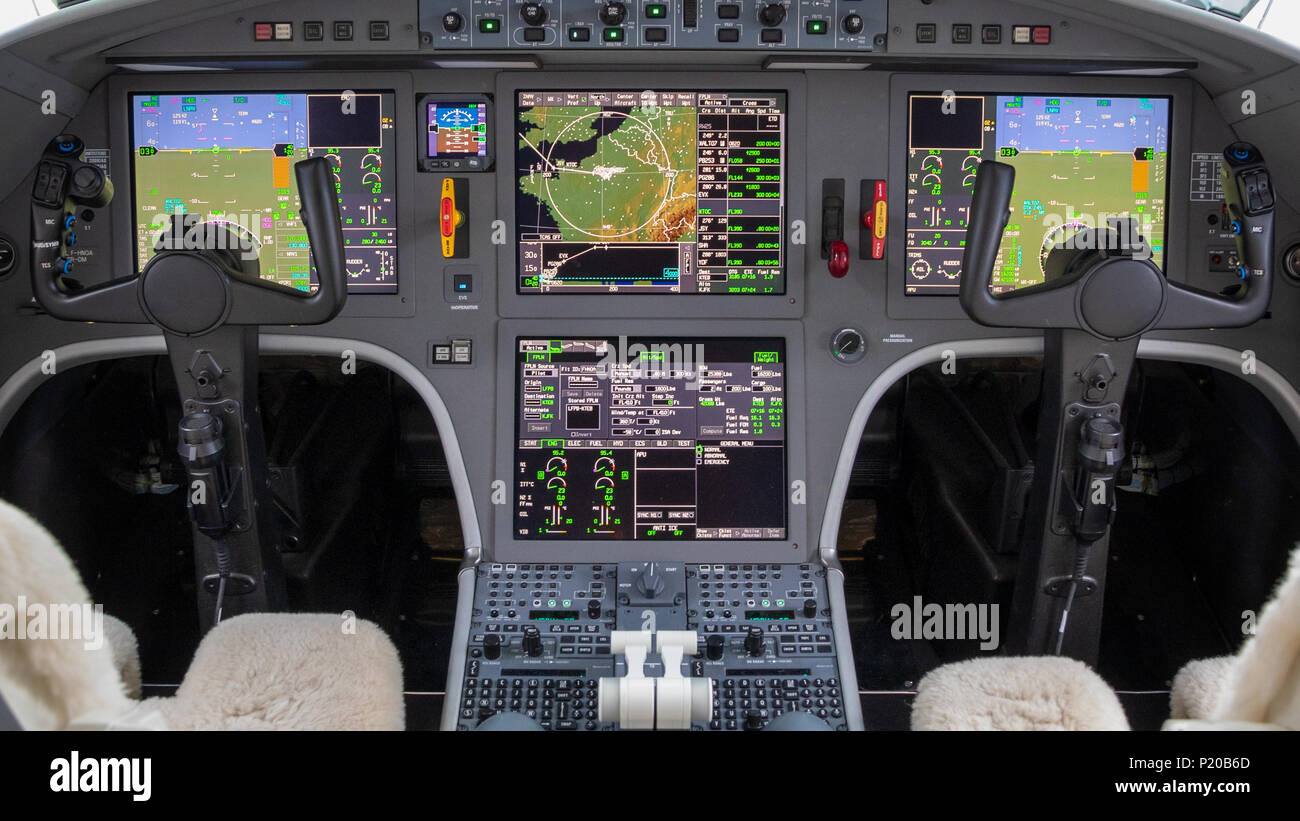 modern glass cockpit in a business jet aircraft. - Stock Image