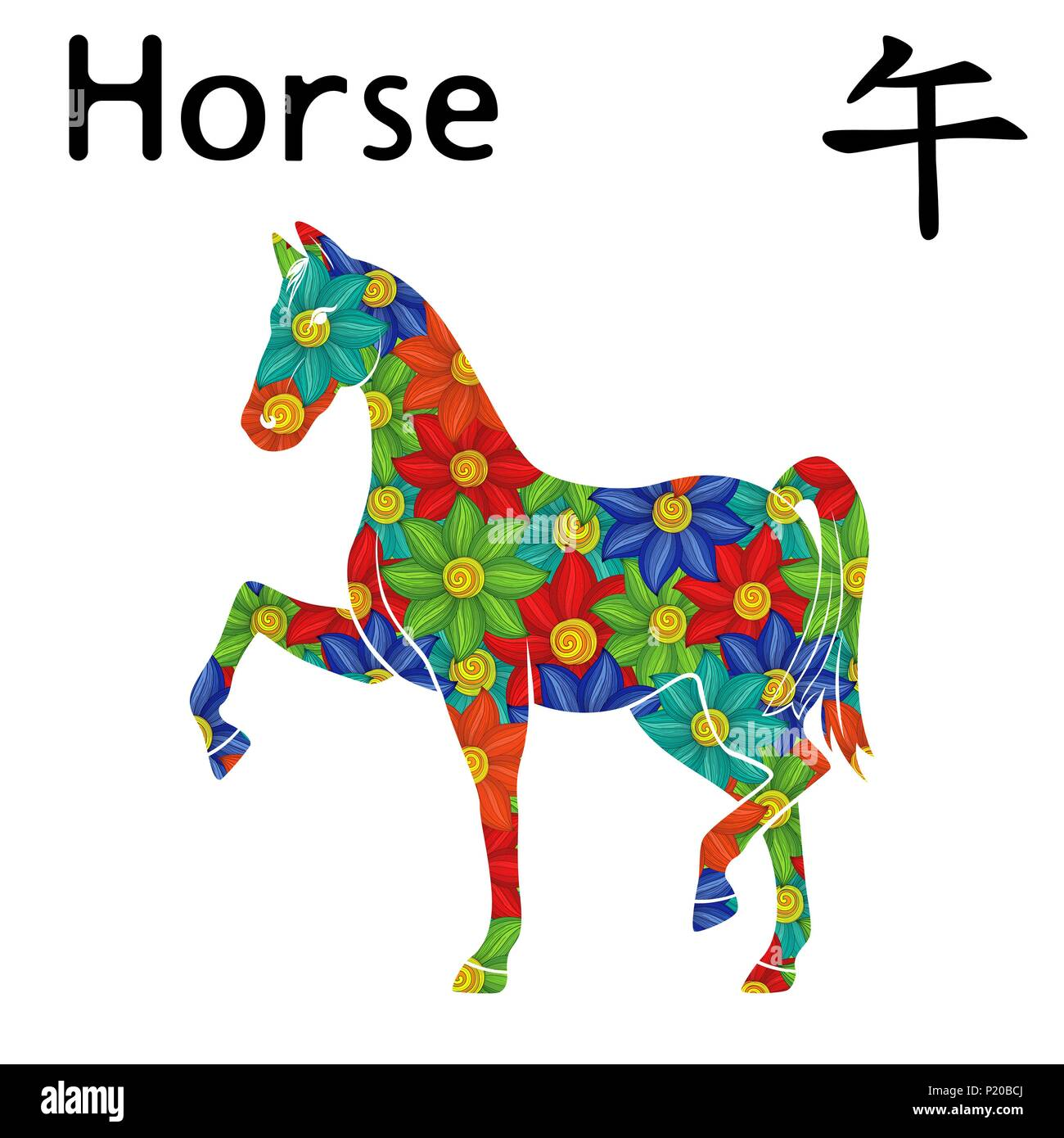 Chinese Zodiac Sign Horse Symbol Of New Year On The Eastern