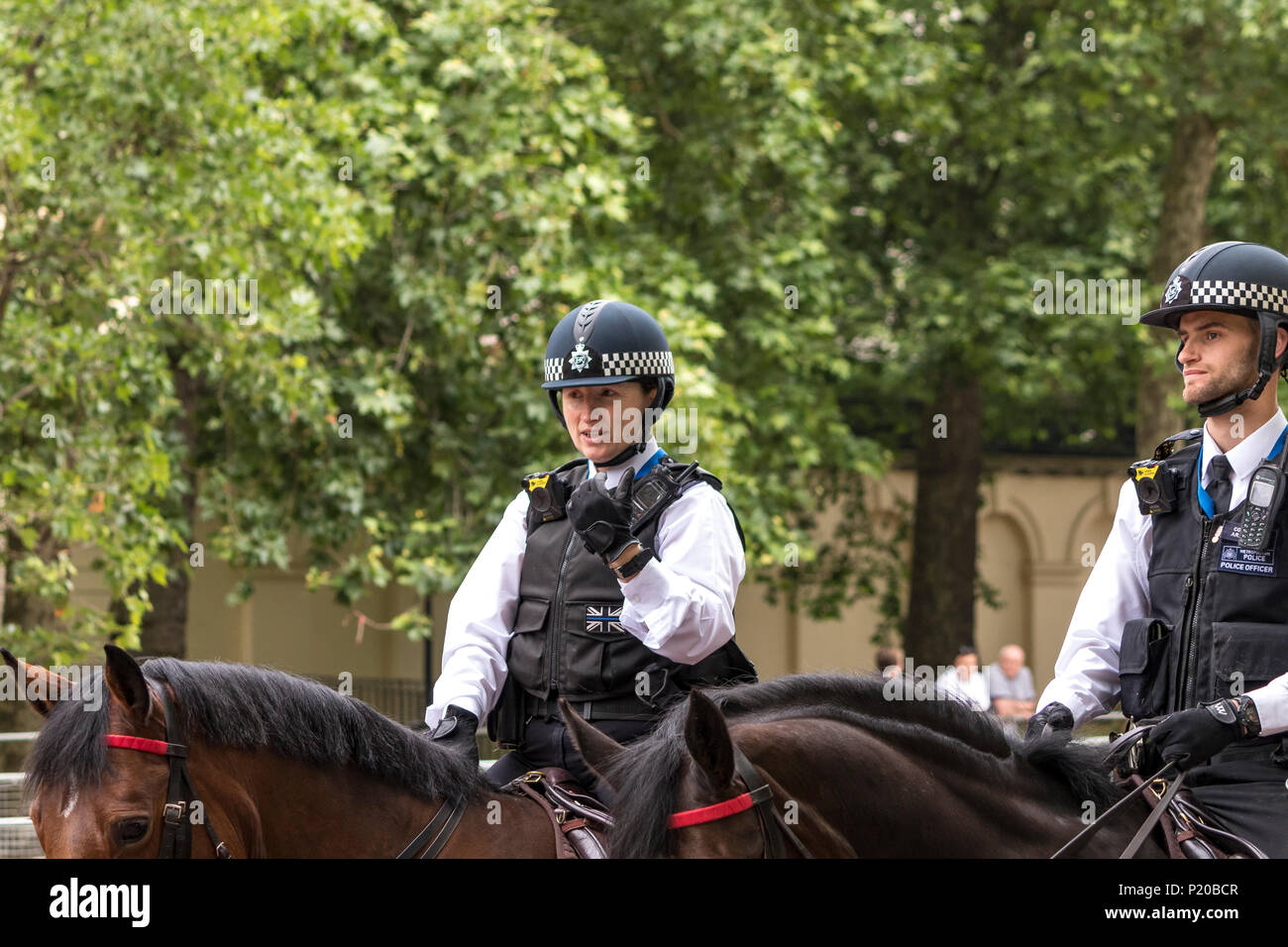 Mounted Police of The Metropolitan Police Mounted Branch at The 2108 Trooping Of The Colour Ceremony - Stock Image