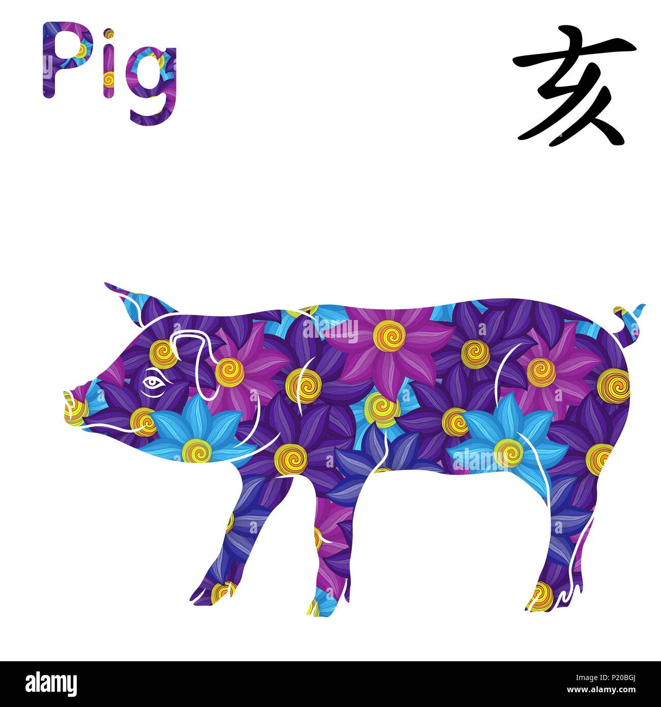009eabda2 Chinese Zodiac Sign Pig, symbol of New Year on the Eastern calendar, hand  drawn vector stencil with blue, magenta and violet flowers isolated on a whi