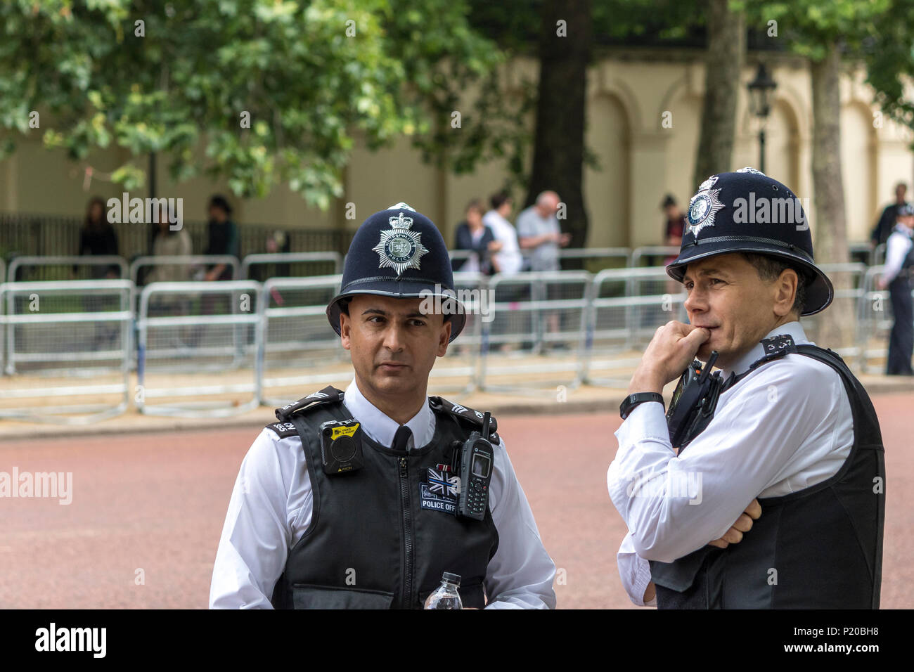 Close up of two Metropolitan Police Officers ,London - Stock Image