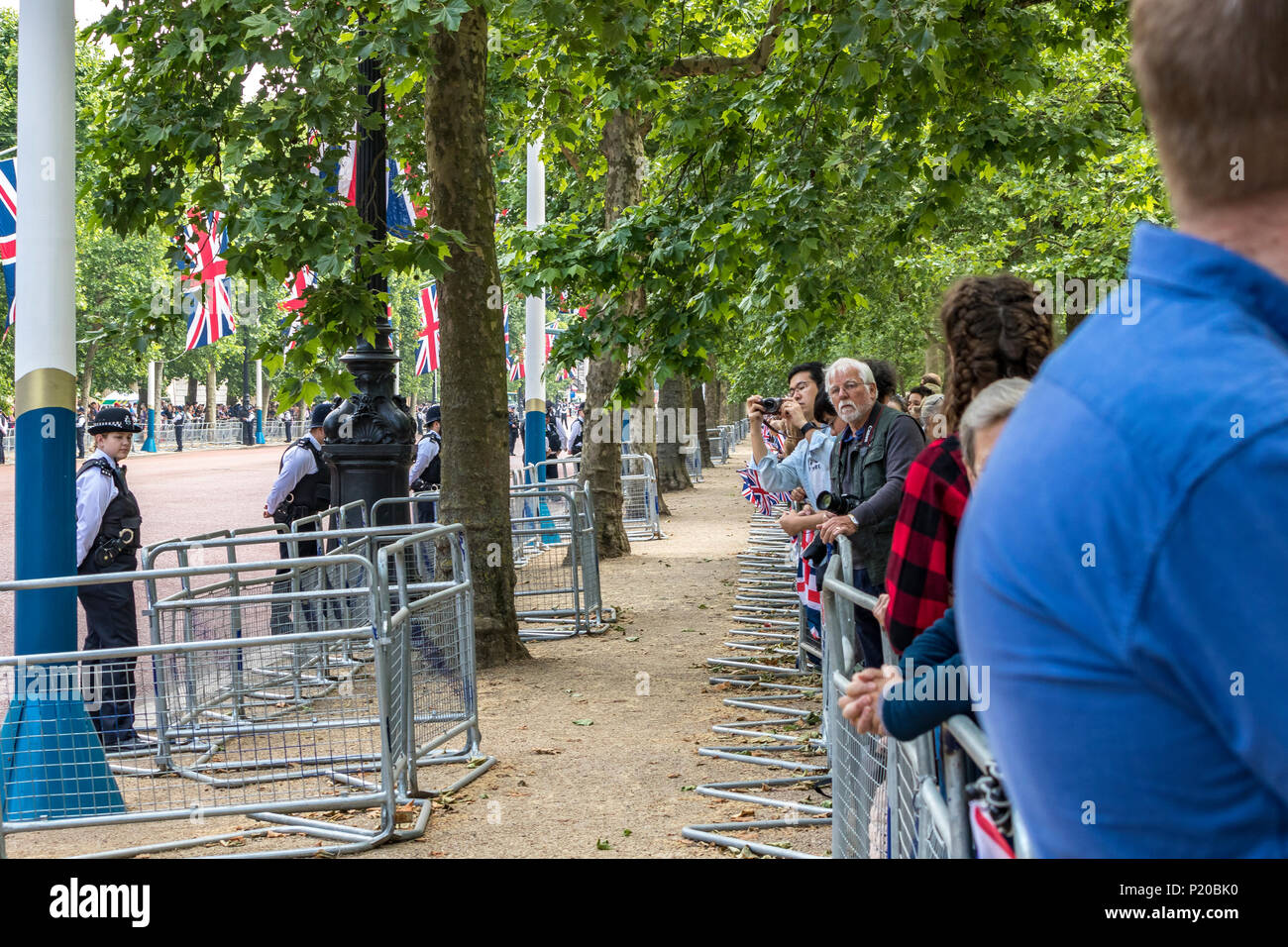 Looking along the line of the waiting crowds lining the Mall at The Trooping Of The Colour Parade 2018 Stock Photo