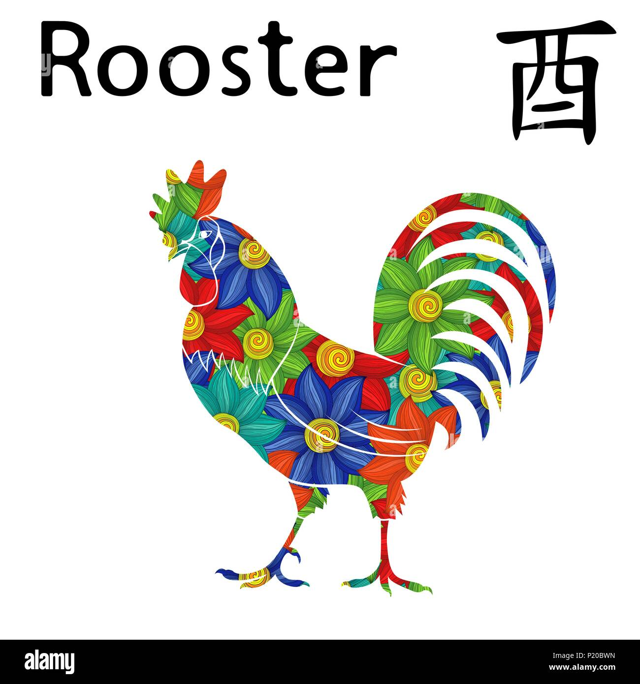 Chinese Zodiac Sign Rooster Symbol Of New Year On The Eastern