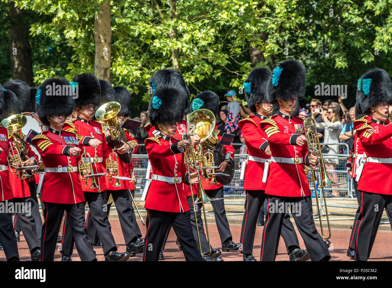 Massed Bands of The Foot Guards marching along the Mall at The Trooping Of The Colour /Queens Birthday parade 2018 - Stock Image