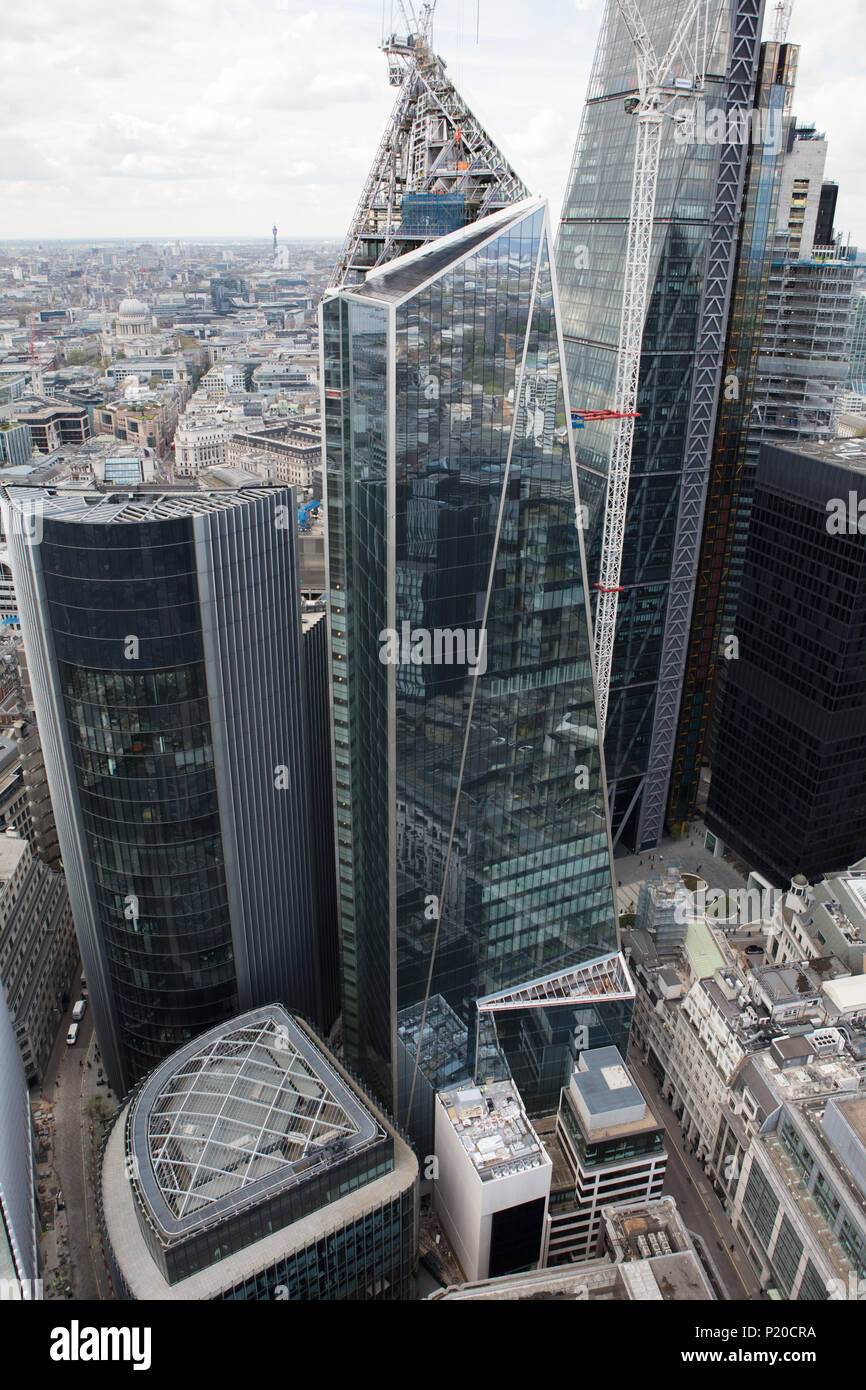 An aerial view of 'The Scalpel' a skyscraper under construction in the City of London - Stock Image