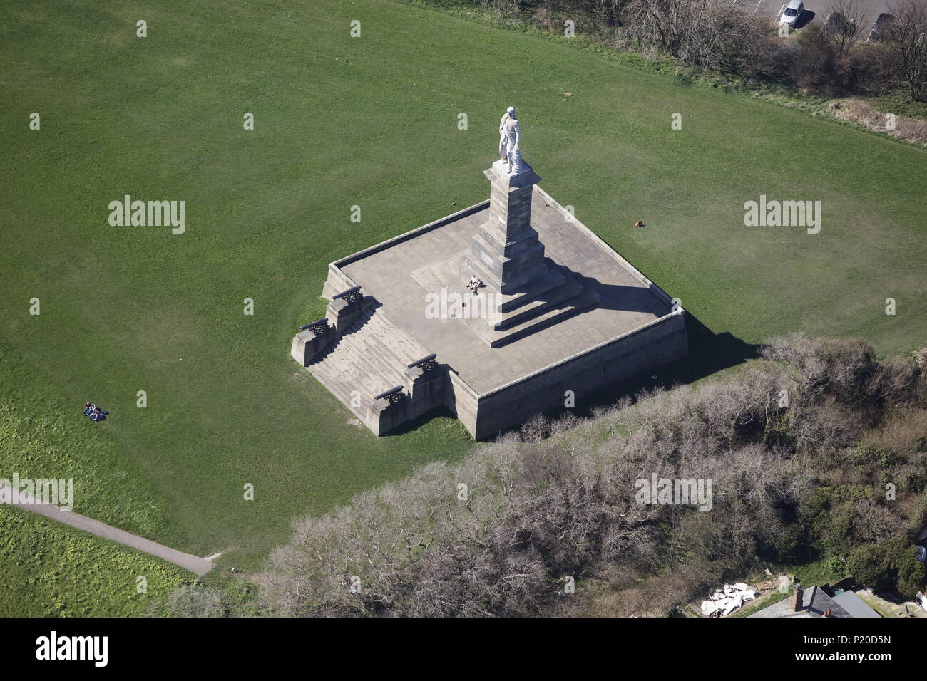 An aerial view of the Collingwood Monument, Tynemouth Stock Photo