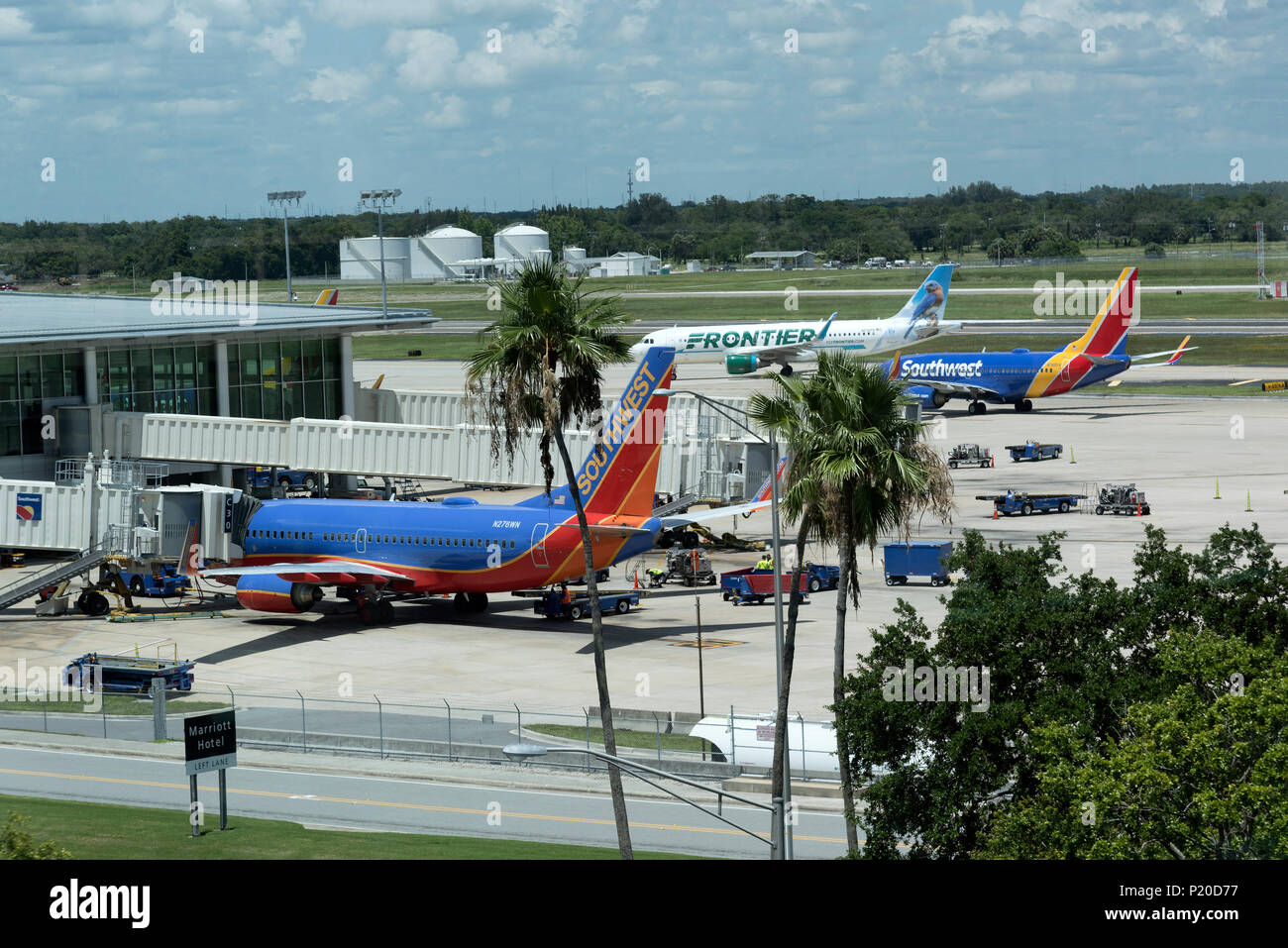Tampa International Airport, Florida, USA. 2018. Overview of the Southwest Airline terminal and aircraft. - Stock Image