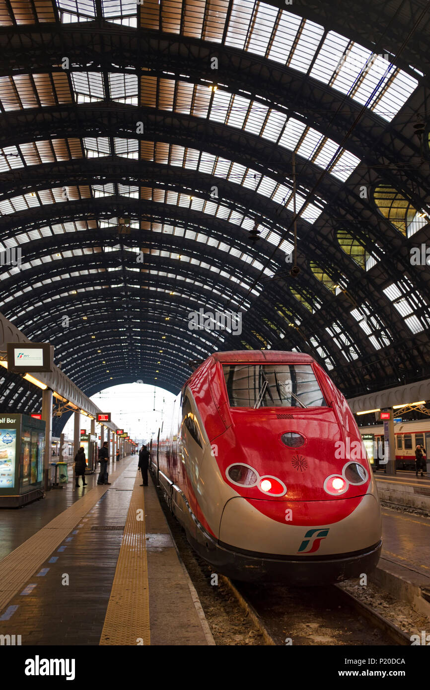 Frecciarossa train in Milano Central Railway Station, Milan, Italy - Stock Image