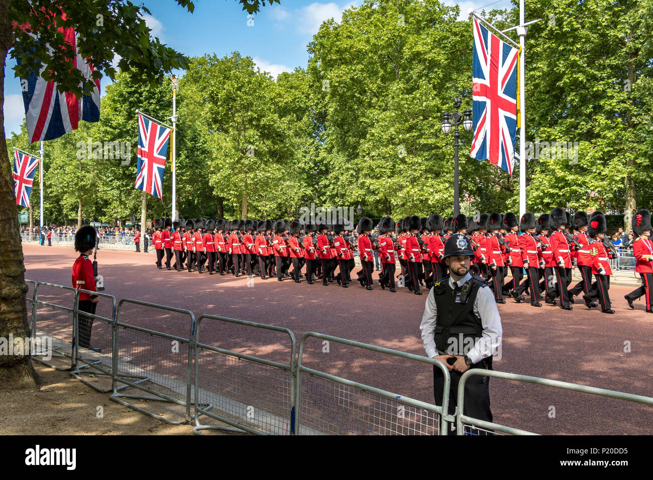 Coldstream Guards marching along the Mall at The Trooping Of The Colour / Queen's Birthday parade 2018 Stock Photo