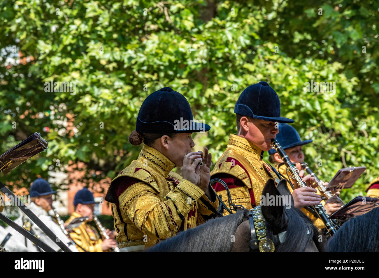 The Band of the Household Cavalry making their way along The Mall  at The Trooping Of The Colour / Queens Birthday parade  2018 - Stock Image