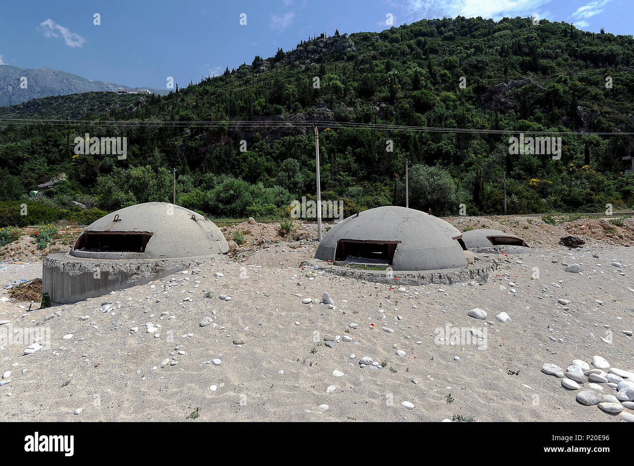 Dhermi, Albania, old bunker facilities from the 1970s on the beach - Stock Image