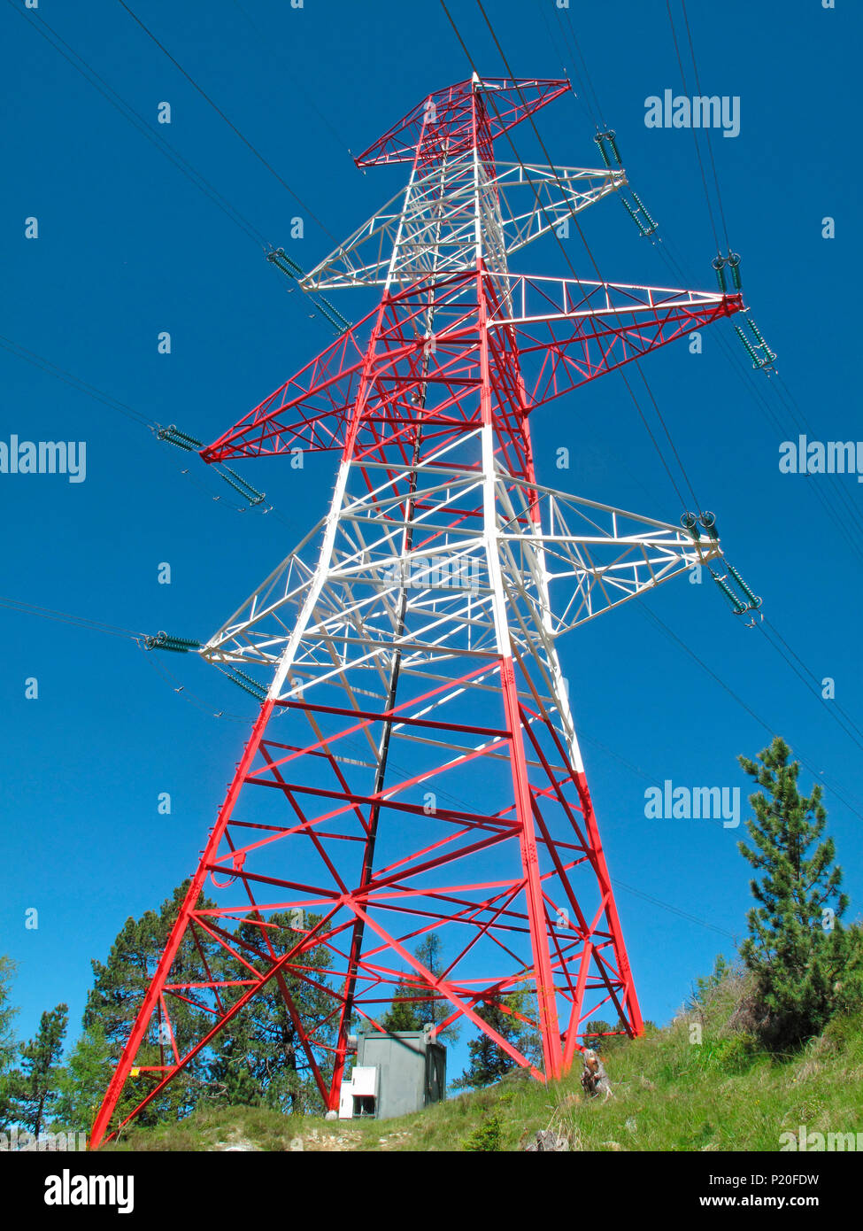 Austria,Tirol, high voltage power line pylon - Stock Image
