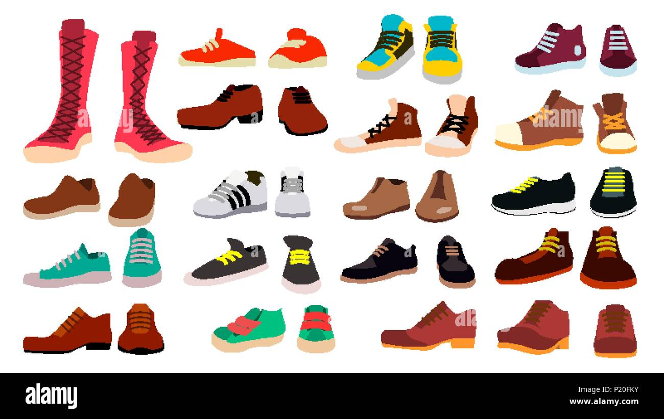 Footwear Set Vector Fashionable Shoes Boots For Man And Woman