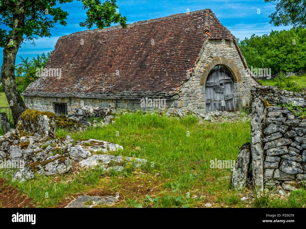 France, Lot, Causses du Quercy regional natural park, Causse de Gramat, Padirac region, dry-stone barn in Barrieres hamel, abandonned since WWI Stock Photo