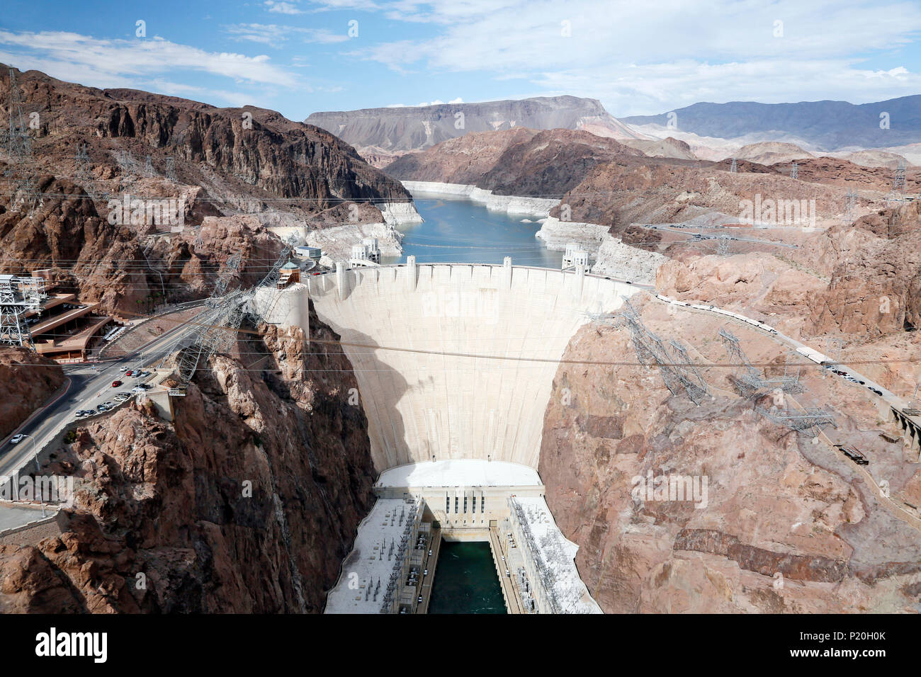 USA. Arizona. Nevada. Colorado River. Lake Mead. Hoover Dam Dam. - Stock Image