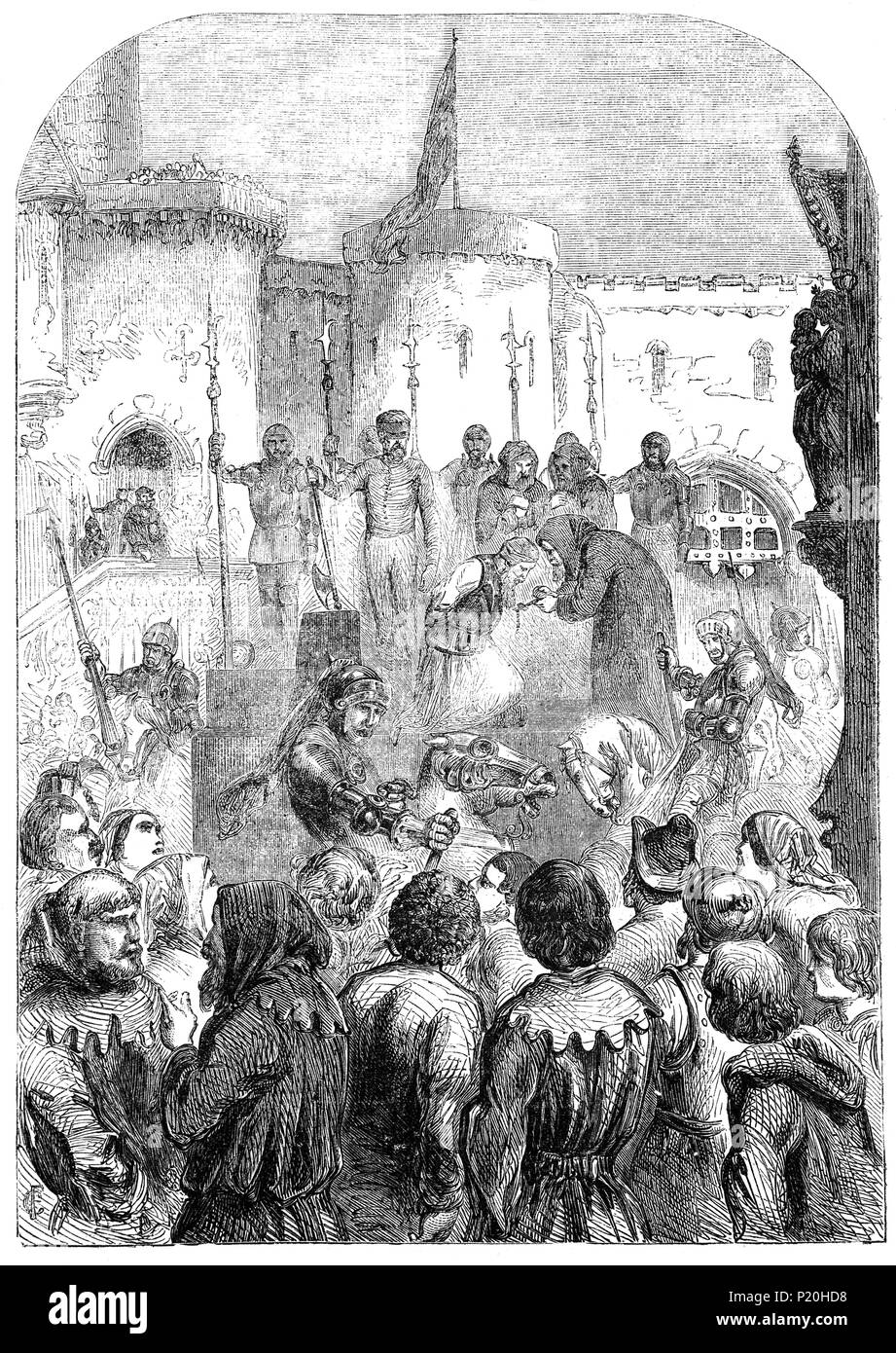 The execution of Archbishop Richard Scope in York following a rebellion against King Henry IV on June 8th, 1405.  in 1405, Henry Percy, Earl of Northumberland, Thomas Mowbray, Earl of Norfolk and Richard Scrope, Archbishop of York rebelled against excessive taxation, maltreatment of the Church and the clergy, and corruption in the King's household.  They raised an army of common people in Yorkshire, but stood them down when Ralph Neville, Earl of Westmorland, assured Scrope and Mowbray that their grievances would be met. But Westmorland had them imprisoned, then beheaded outside the city. - Stock Image