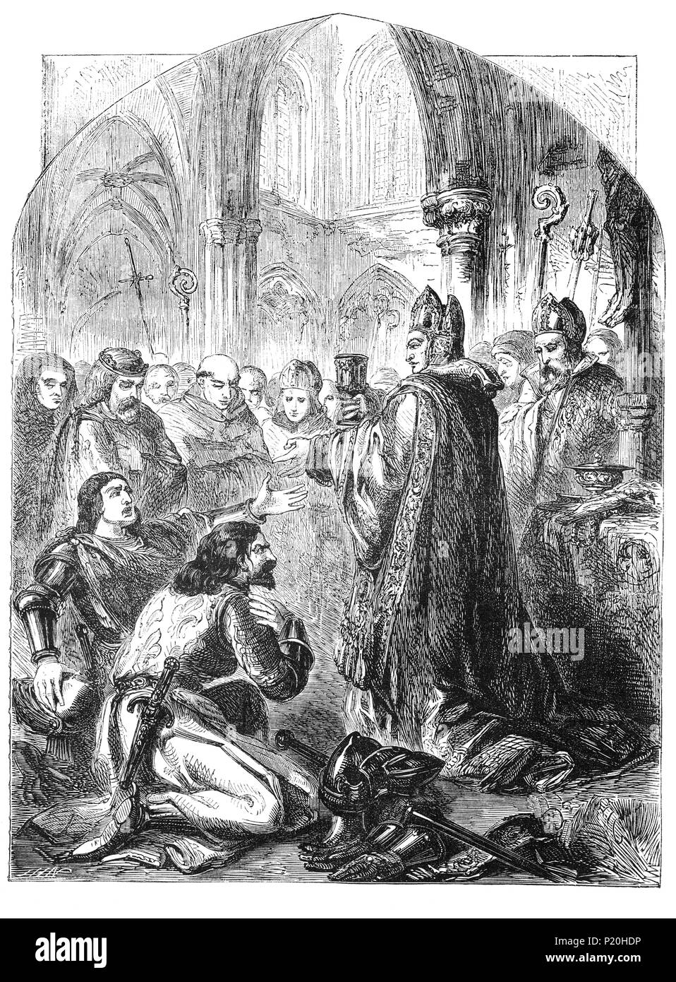 John, Duke of Berry, served as a mediator between the House of Orléans (Armagnac faction) and the House of Burgundy (Burgundian faction) and organised a reconciliation in the Church of the Augustines during the Armagnac–Burgundian Civil War,  a conflict between the two cadet branches of the French royal family from 1407 to 1435. It began during a lull in the Hundred Years' War against the English and overlapped with the Western Schism of the papacy. Stock Photo