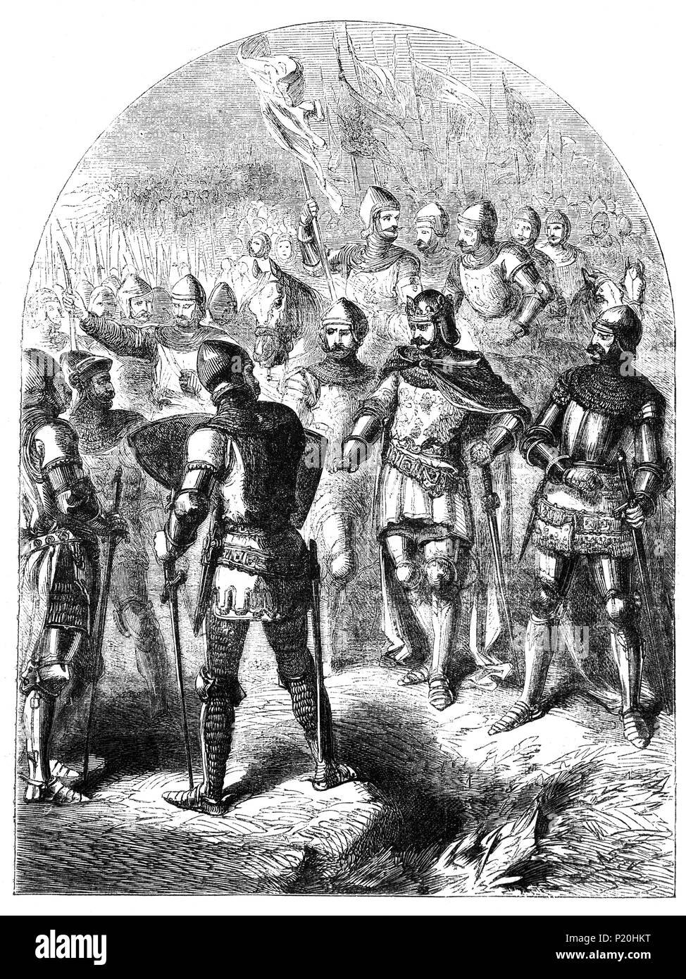The Battle of Agincourt, 25 October 1415, was a major English victory in the Hundred Years' War that took place some 40 km south of Calais. The battle is notable for the use of the English longbow in large numbers, with the English and Welsh archers forming up to 80 percent of Henry's army. The decimation of the French cavalry at their hands is regarded as an indicator of the decline of cavalry and the beginning of the dominance of ranged weapons on the battlefield. - Stock Image