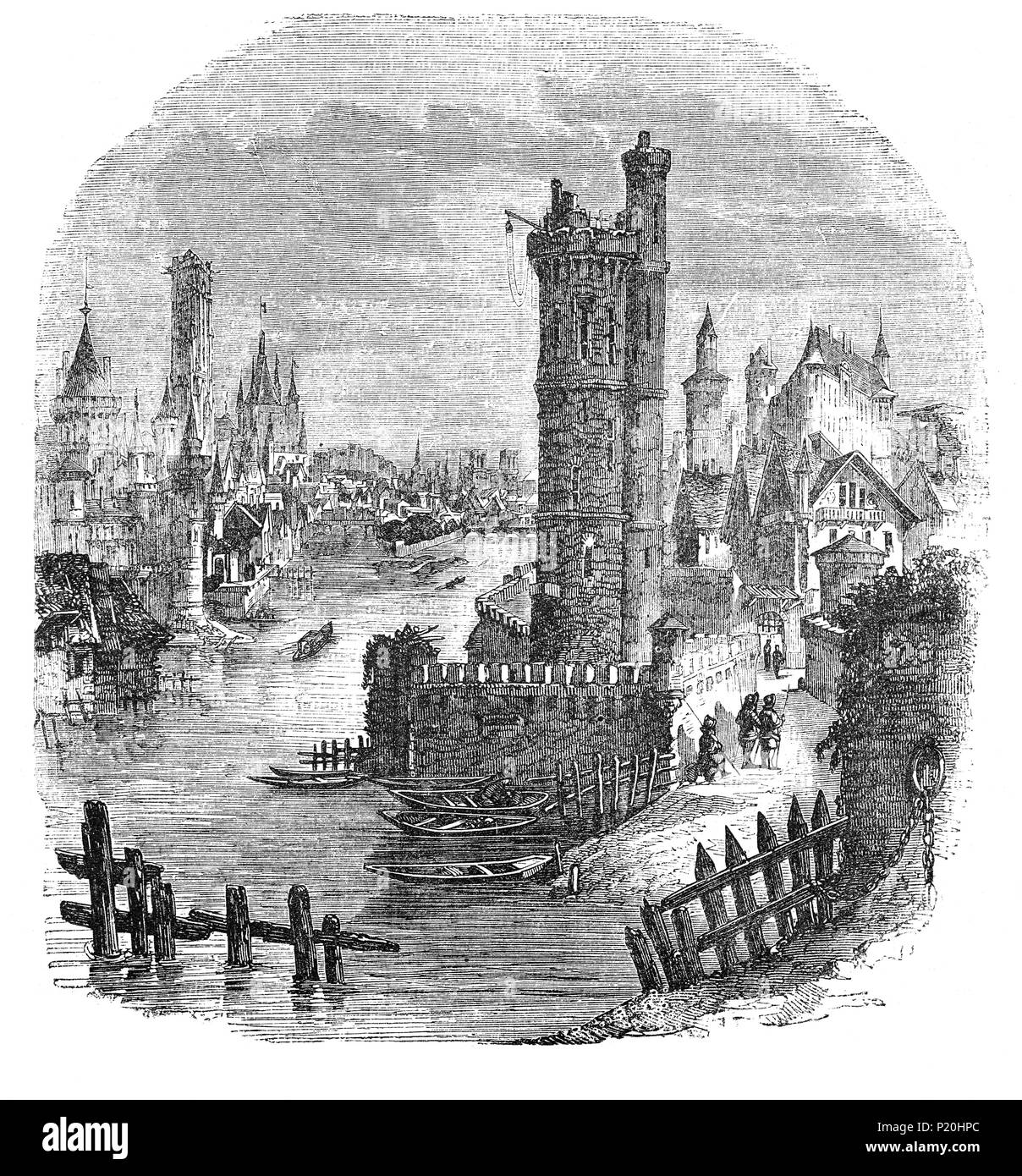 A 15th Century view of the River Seine as it flows through Paris, France during the time of the Cabochien revolt, an episode in the civil war between the Armagnacs and the Burgundians, it occurred during the 100 Years War between France and England Stock Photo