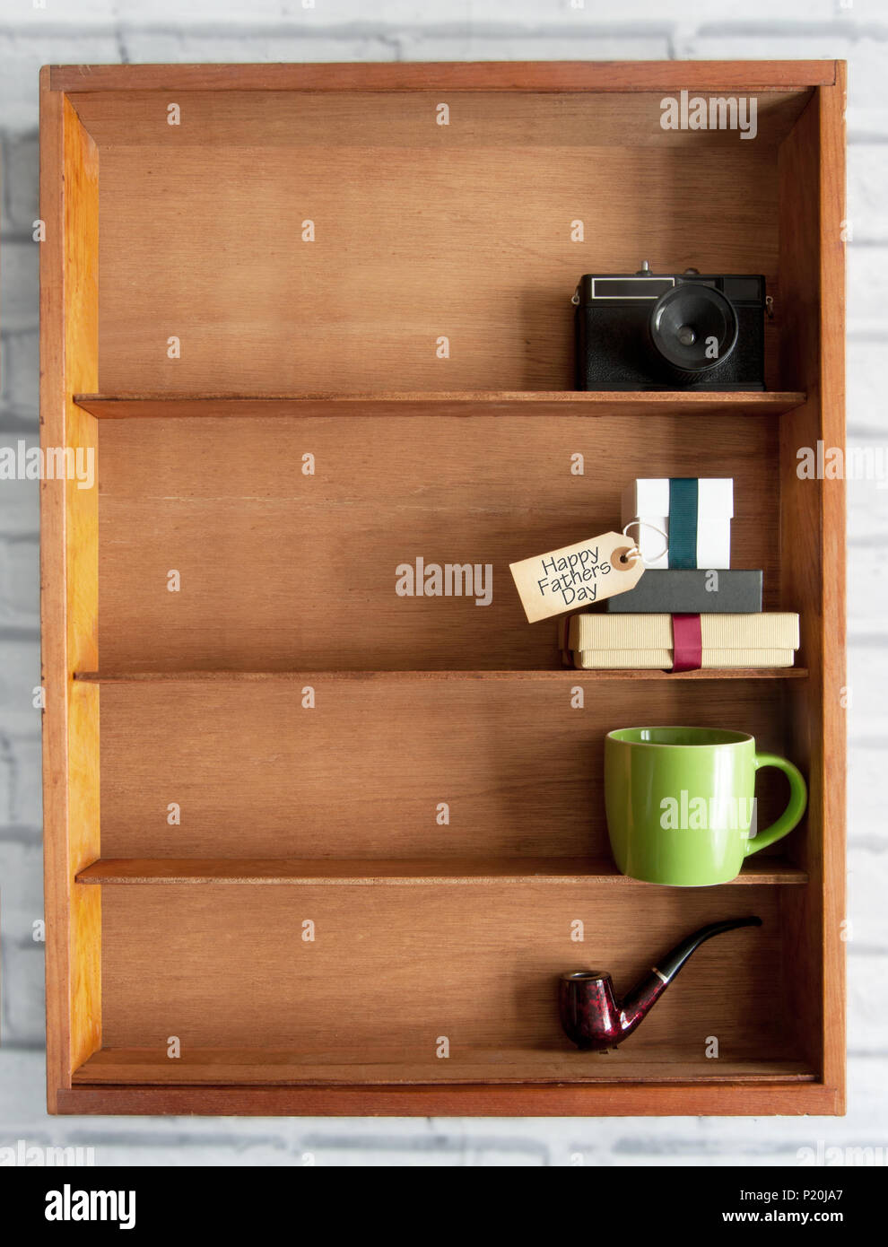 Gift Boxes With Fathers Day Label Inside A Display Shelf With Coffee Cup And Pipe Stock Photo Alamy