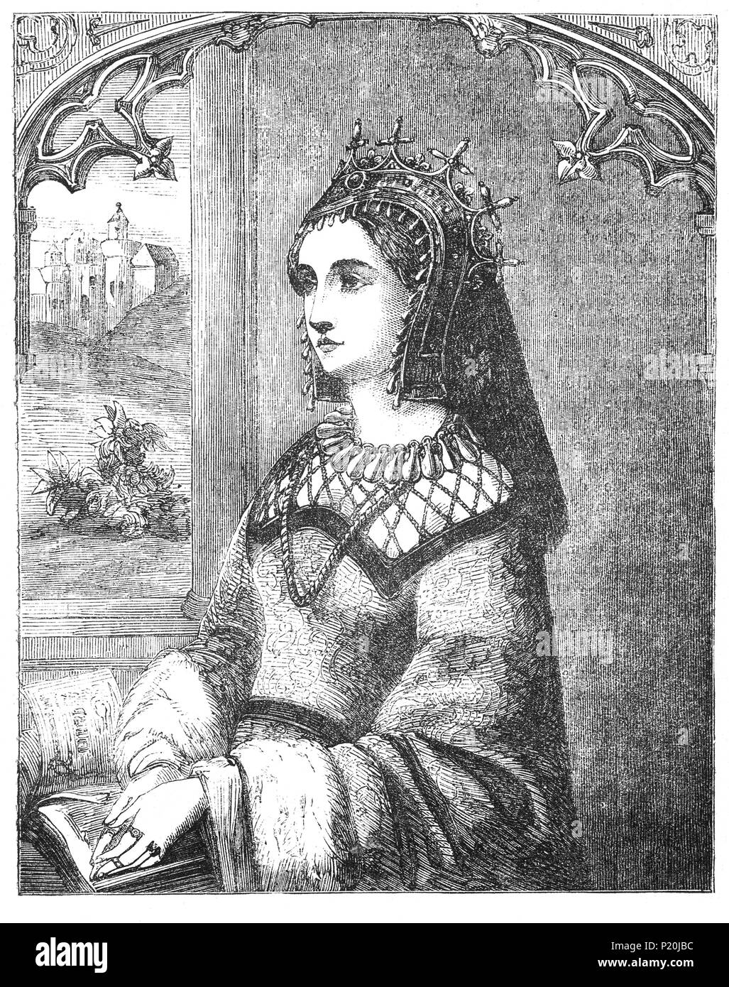 Margaret of Anjou (1430-1482) was the Queen of England by marriage to King Henry VI from 1445 to 1461 and again from 1470 to 1471. She was a principal figure in the Wars of the Roses and at times personally led the Lancastrian faction. Owing to her husband's frequent bouts of insanity, Margaret ruled the kingdom and it was she who called for a Great Council in 1455 that excluded the Yorkist faction headed by Richard of York, 3rd Duke of York, the spark that ignited a civil conflict that lasted for more than 30 years. After defeat at Tewkesbury she lived in France and died there in 1482. Stock Photo