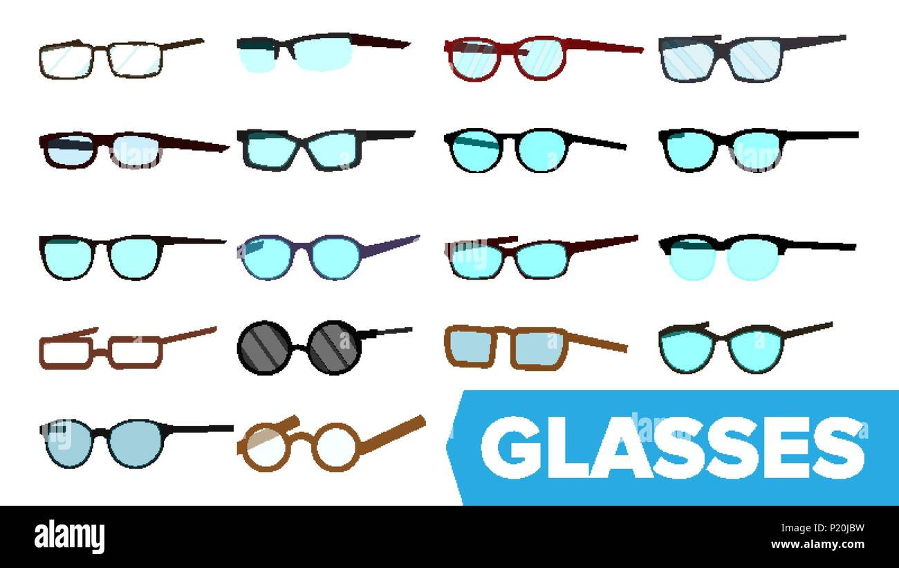 Glasses Set Vector. Modern Glasses Icon. Different Eyewear Types ...