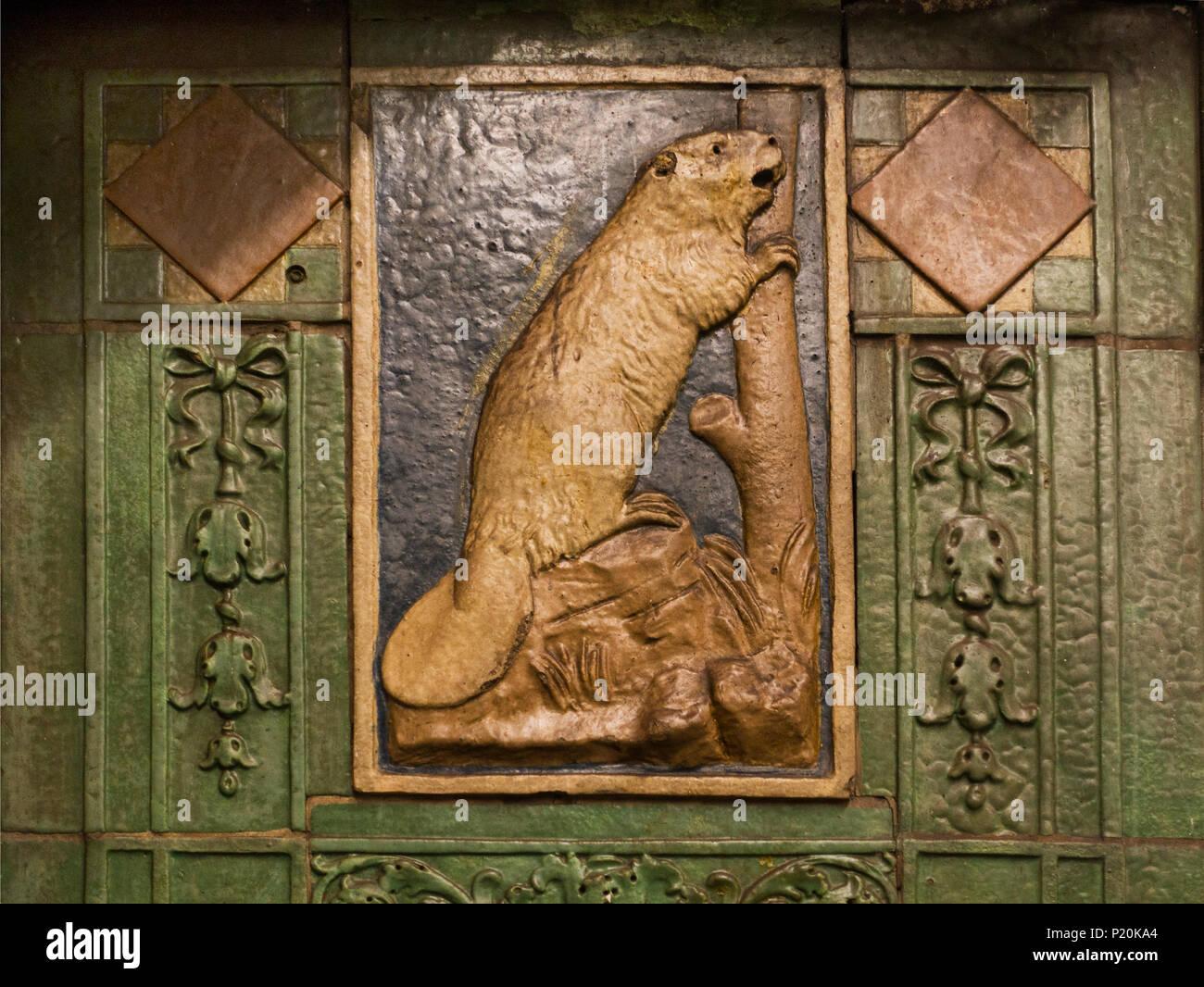 Beaver Subway Tile At Astor Place Manhattan Nyc Stock Photo