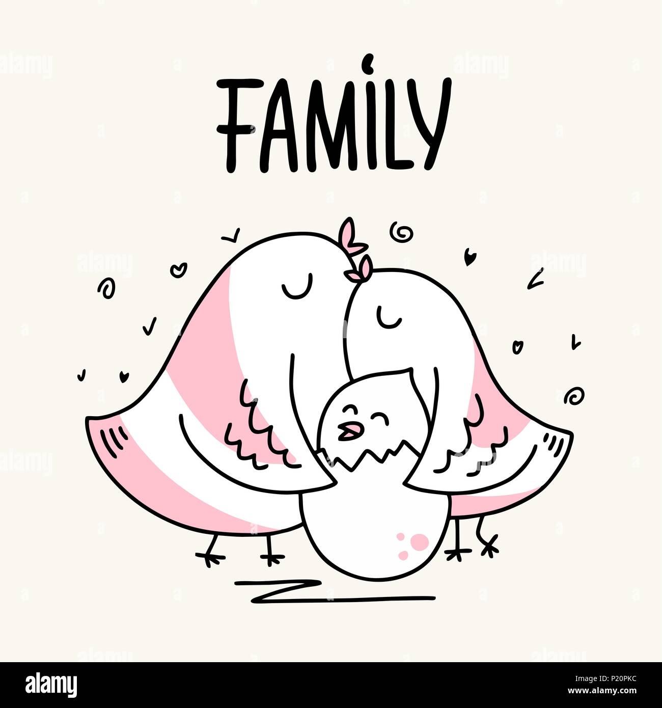 Family of two parents bird father and mother hug her baby. Cartoon flat vector animal illustration card - Stock Vector