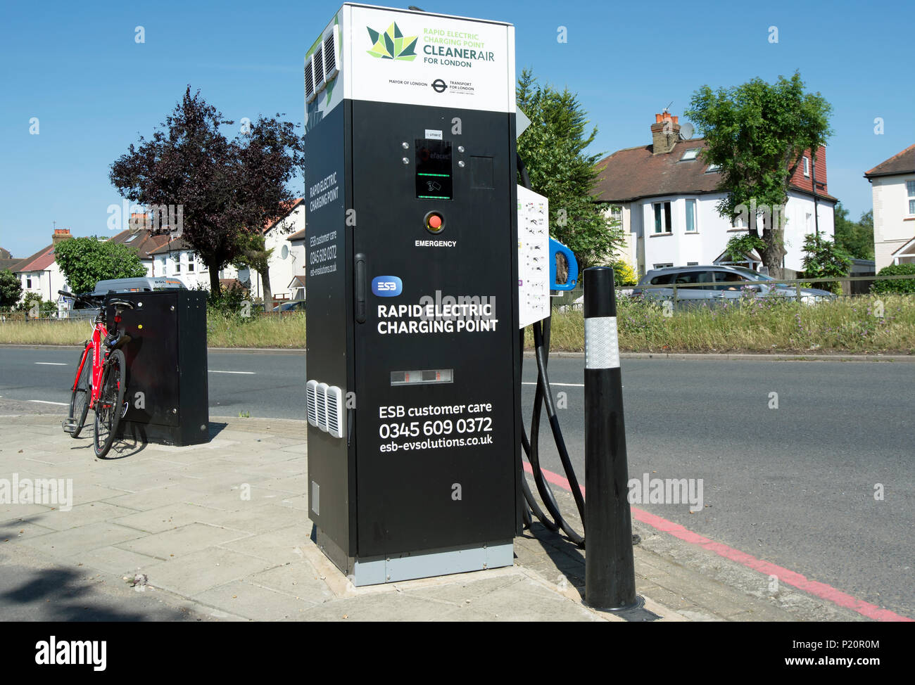 rapid electric car charging point in east sheen, london, england Stock Photo