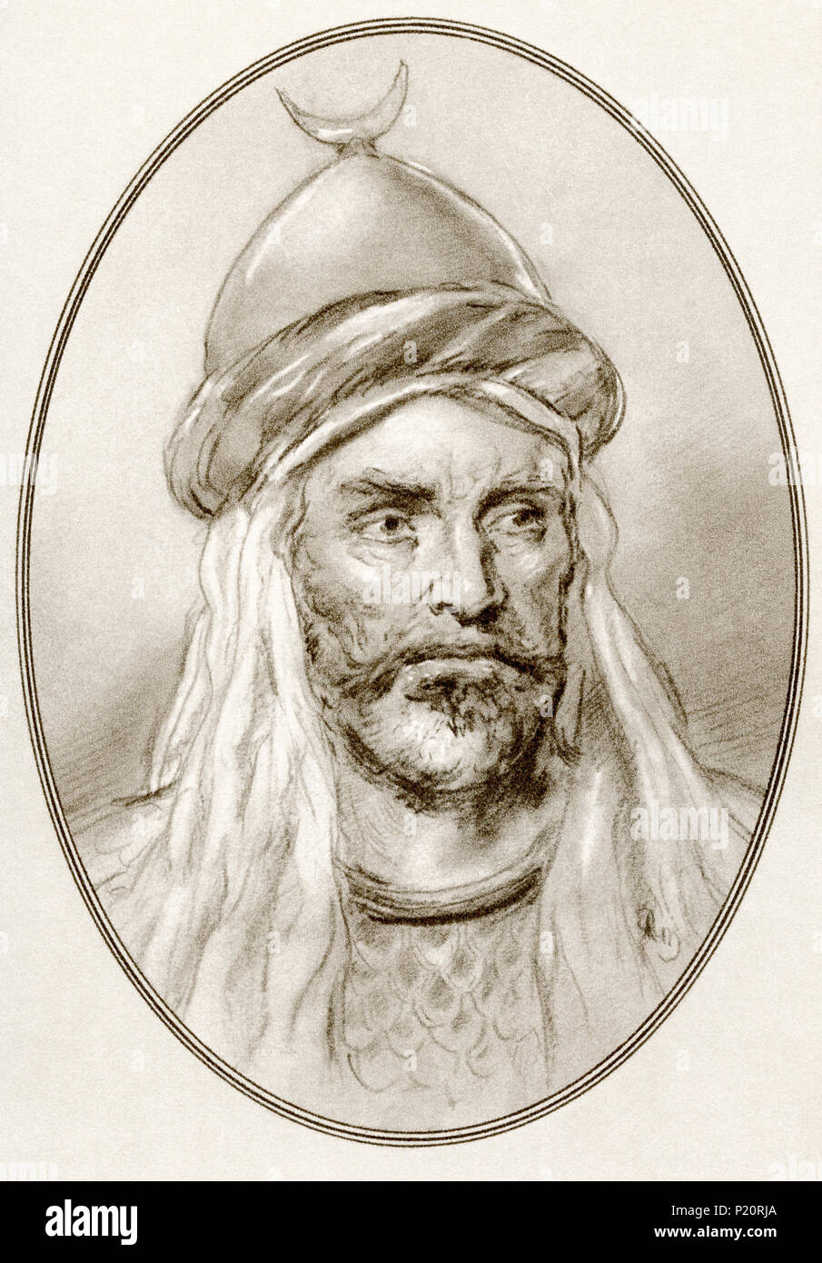 An-Nasir Salah ad-Din Yusuf ibn Ayyub, aka Salah ad-Din or Saladin, 1137 – 1193.  First sultan of Egypt and Syria and the founder of the Ayyubid dynasty.  Illustration by Gordon Ross, American artist and illustrator (1873-1946), from Living Biographies of Famous Rulers. - Stock Image