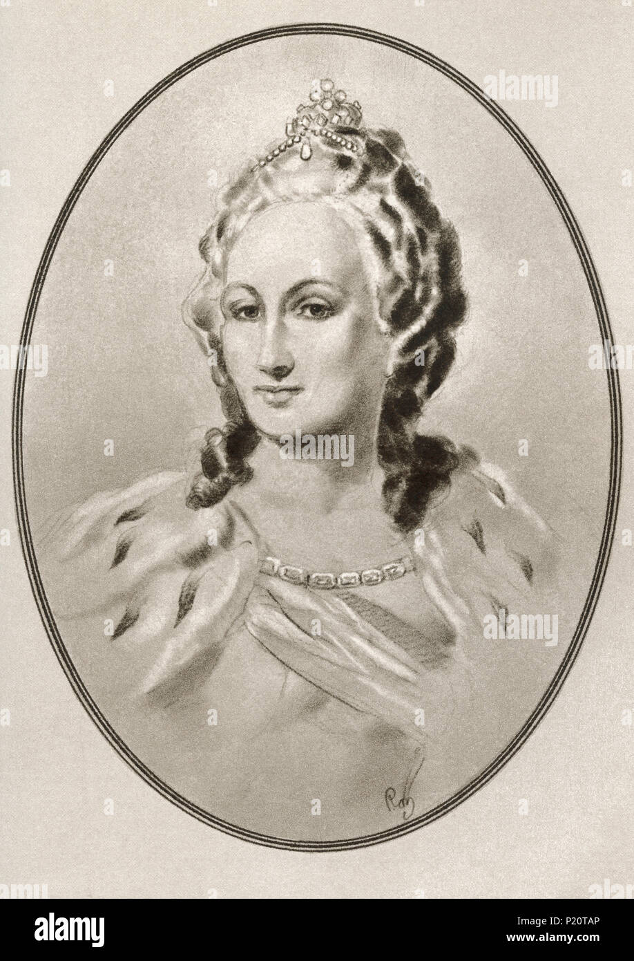 Catherine II, 1729 – 1796, aka Catherine the Great.  Empress of Russia.  Illustration by Gordon Ross, American artist and illustrator (1873-1946), from Living Biographies of Famous Rulers. Stock Photo