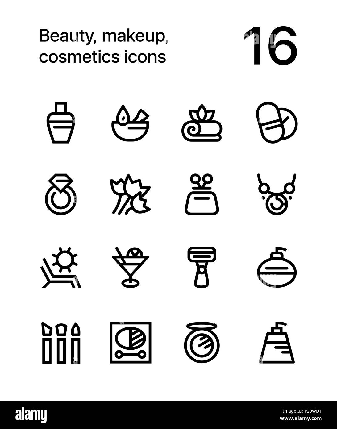 Beauty, cosmetics, makeup icons for web and mobile design pack 3 Stock Vector