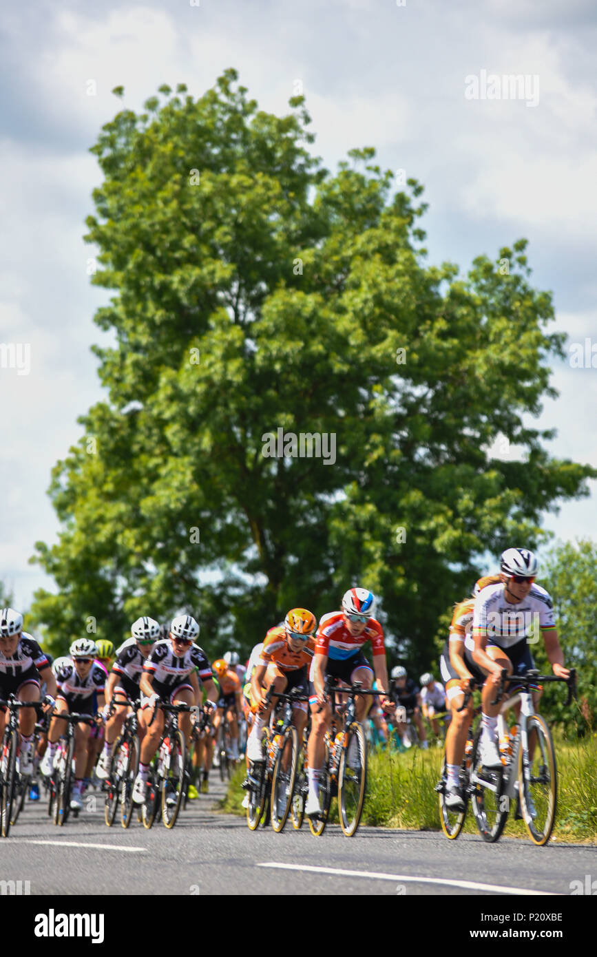 The OVO Energy Women's Tour of Britain cycle race has got underway with stage 1 starting at Framlingham and finishing in Southwold. The 130km stage took in many of the county's villages and towns - Stock Image
