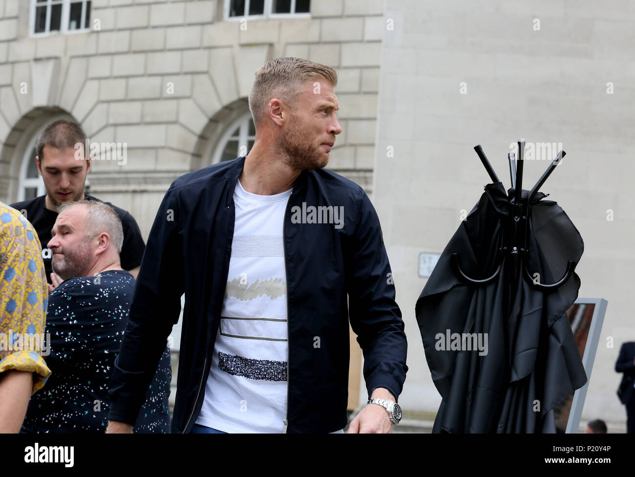 Manchester, UK. 13th June 2018. Former international cricketer, Andrew 'Freddie' Flintoff  MBE been filmed in the city at a pop up barbers for a TV programme, St Peters square, Manchester, 13th June, 2018 (C)Barbara Cook/Alamy Live News - Stock Image