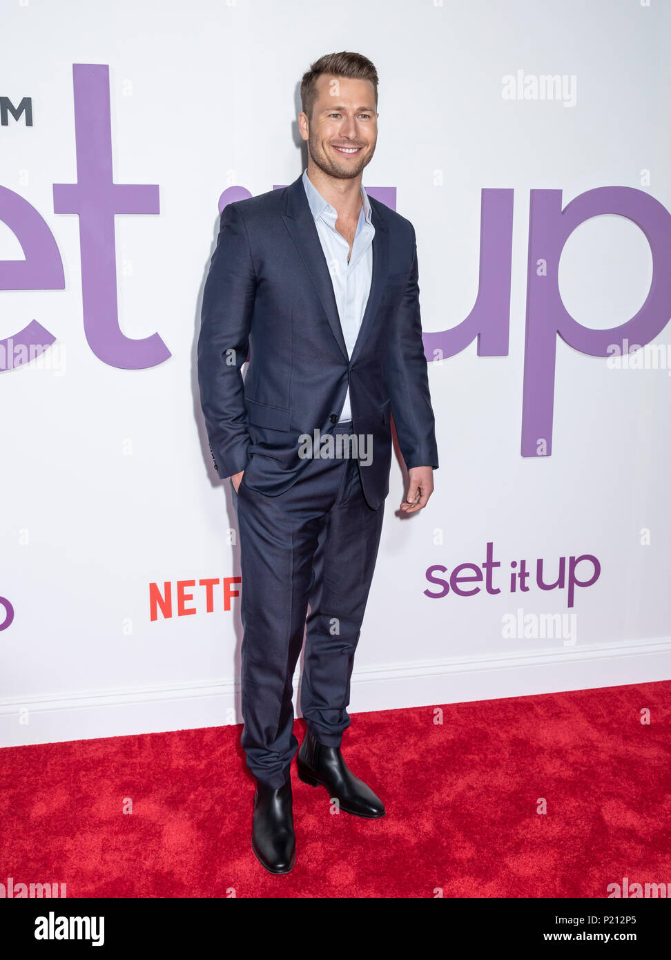 New York, NY, USA - June 12, 2018: Actor Glen Powell attends the New York special screening of the Netflix film 'Set It Up' at AMC Loews Lincoln Square Credit: Sam Aronov/Alamy Live News - Stock Image