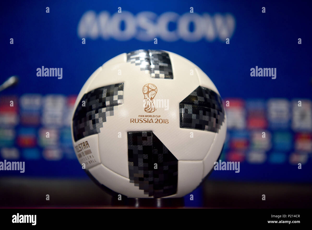 Moscow, Russia - June 13, 2018. Official World Cup 2018 match ball with blurred name of the host city Moscow in the background. Credit: Alizada Studios/Alamy Live News - Stock Image
