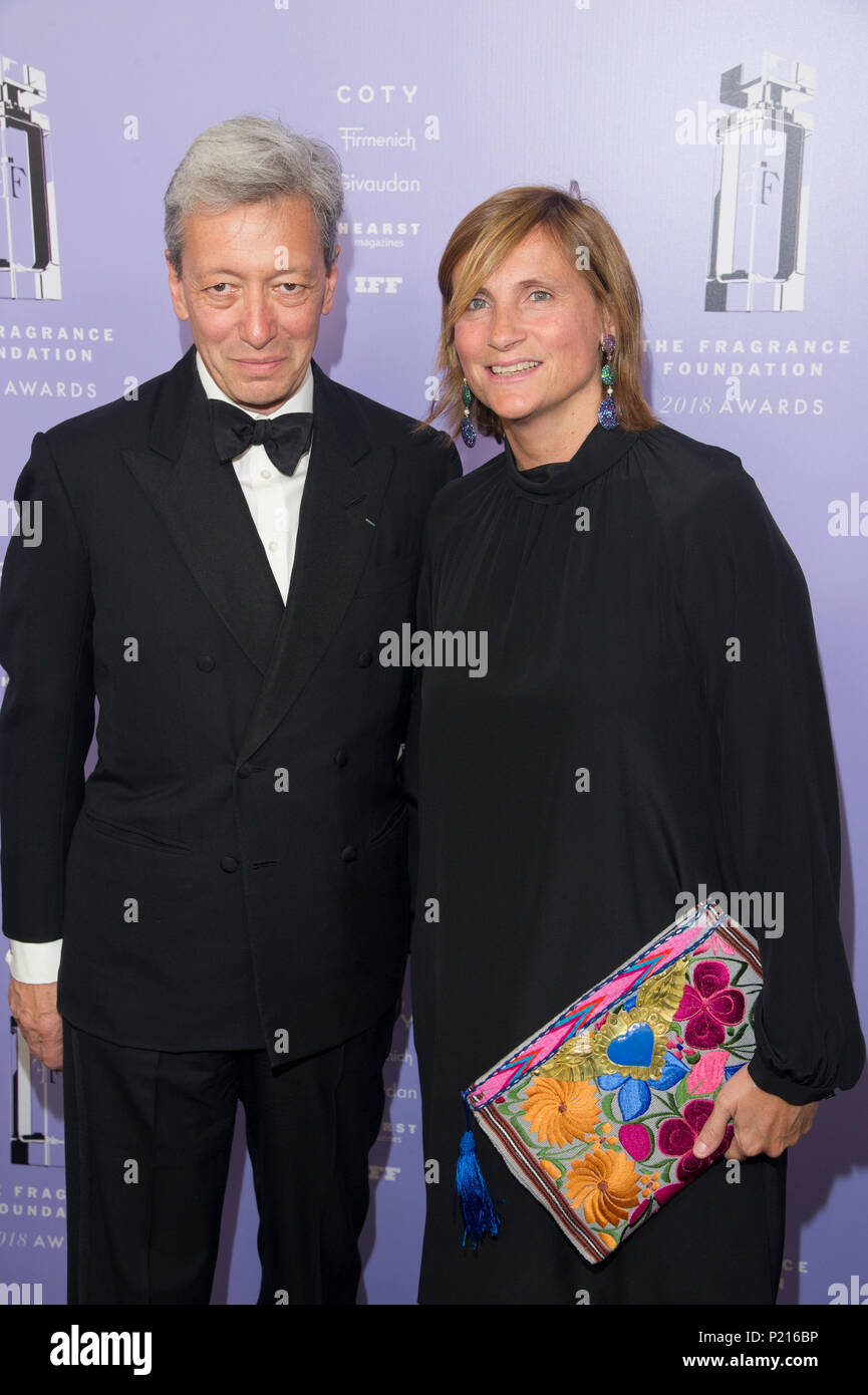 NEW YORK, NY - JUNE 12: Founder, Editions de Parfum Frederic Malle, Recipient, Game Changer Award Frederic Malle and Marie Malle attends 2018 Fragrance Foundation Awards at Alice Tully Hall at Lincoln Center on June 12, 2018 in New York City. Credit: Ron Adar/Alamy Live News - Stock Image